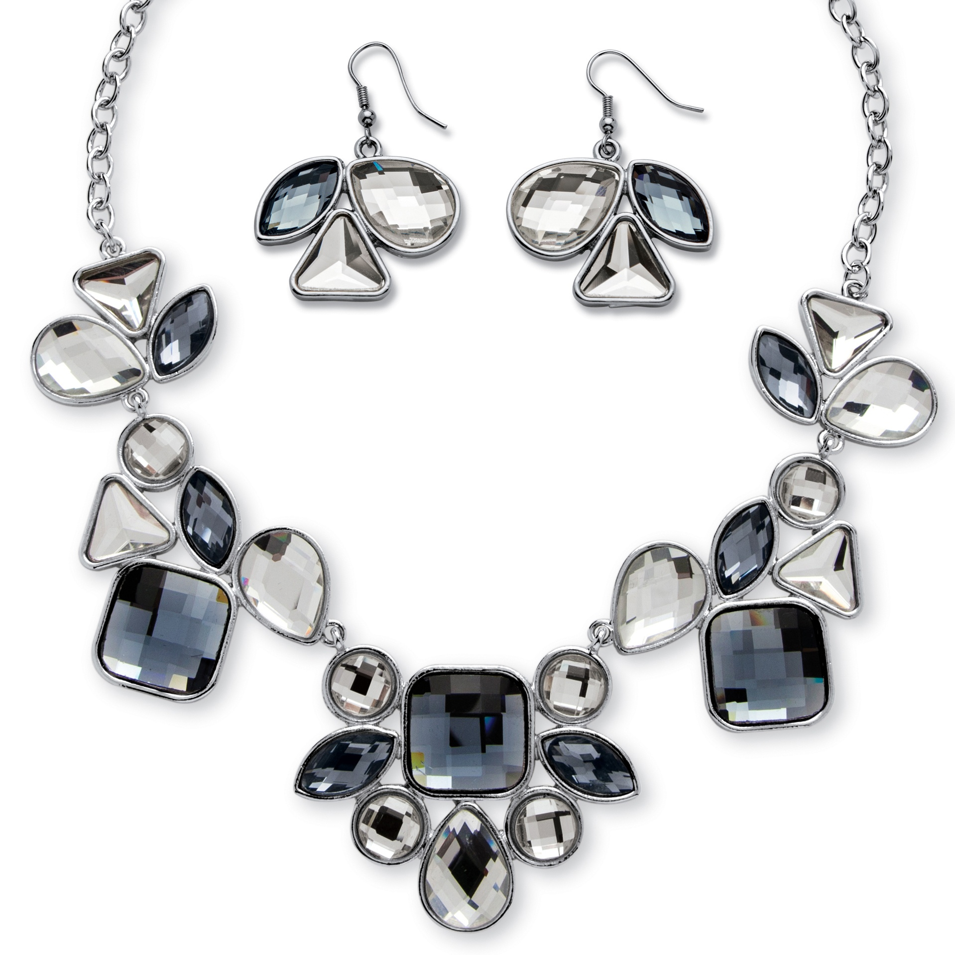 Checkerboard-Cut Geometric White and Grey Crystal Necklace and Earrings Set in Rhodium-Plated Finish