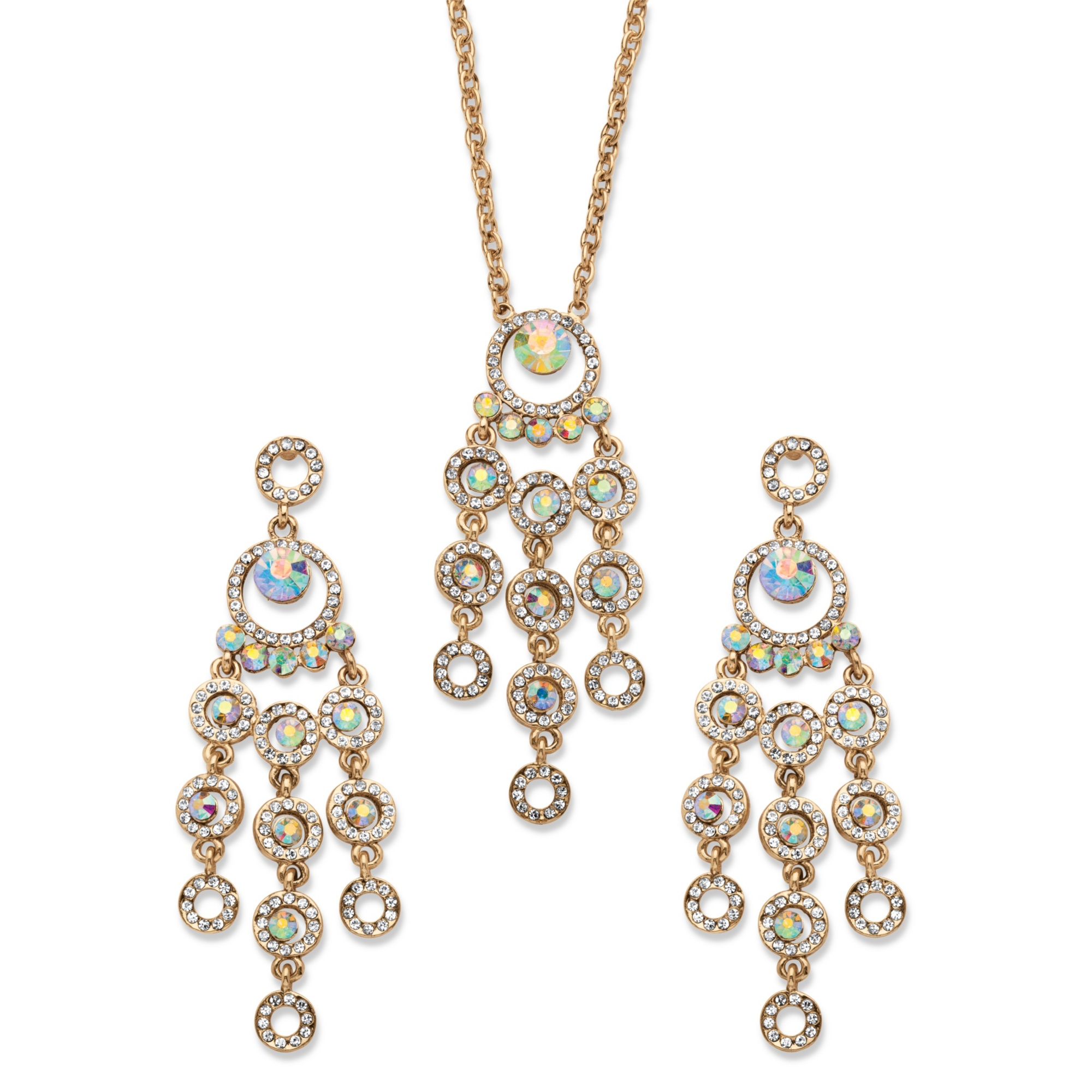 Aurora Borealis Crystal Chandelier Halo Necklace and Earrings Set in Antique Gold Tone