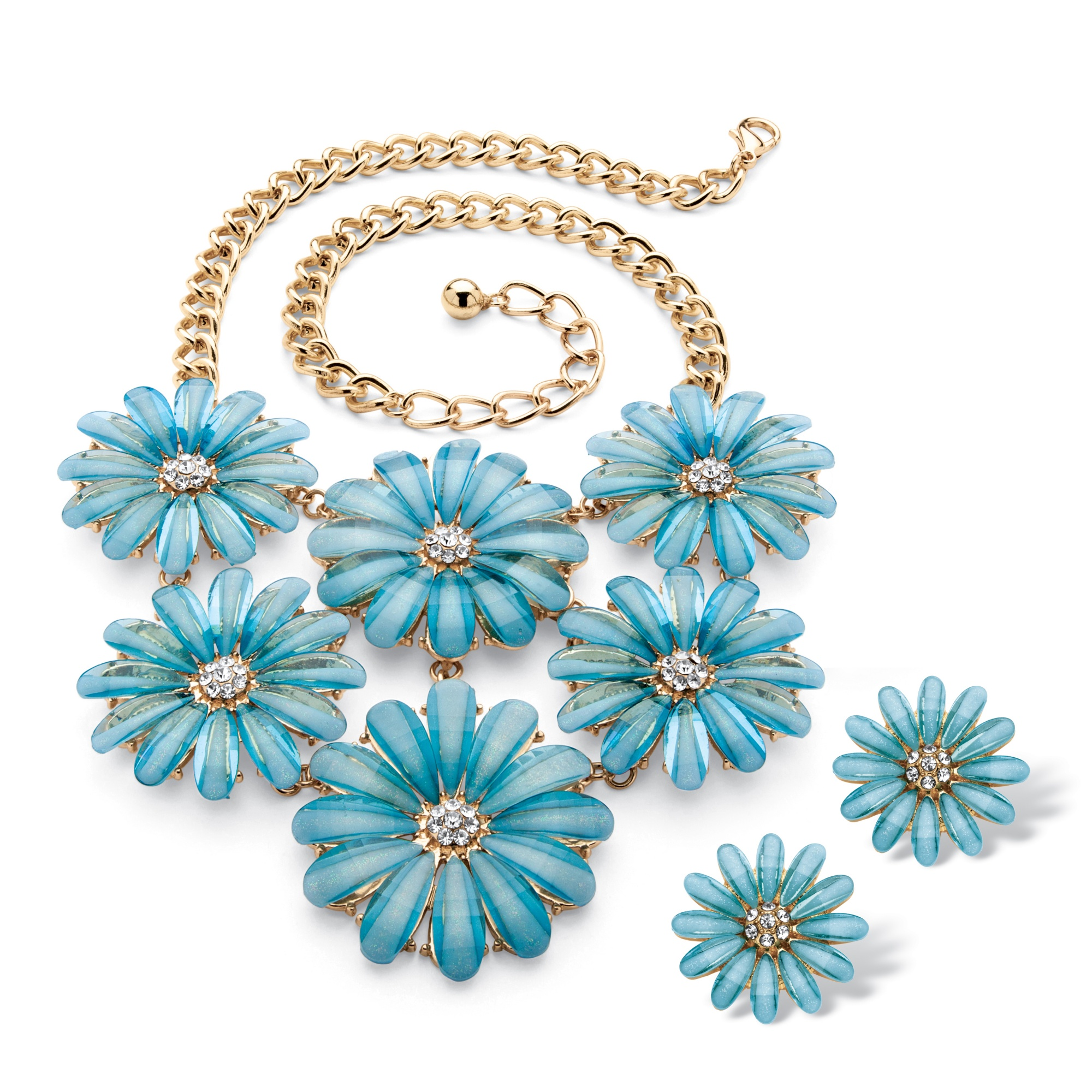 PalmBeach Jewelry Blue Lucite and Crystal Daisy Necklace and Earrings Set in Gold Tone PartNumber: 00401081000P KsnValue: 9366935 MfgPartNumber: 55755