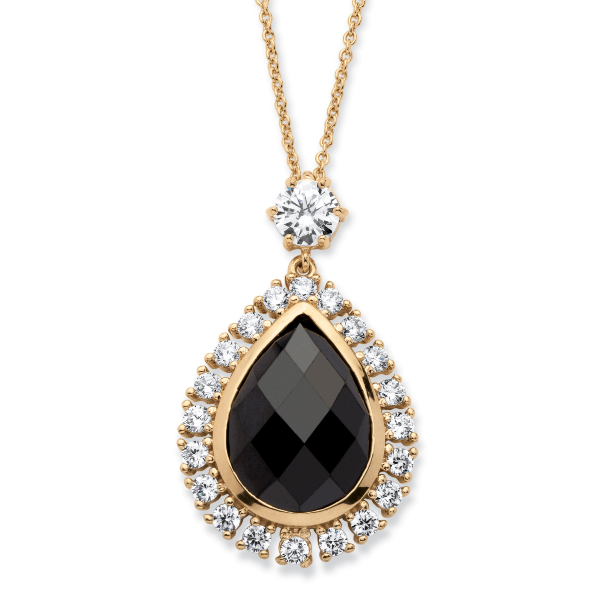 13.84 TCW Black Checkerboard-Cut Cubic Zirconia Bezel-Set Halo Necklace 14k Yellow Gold-Plated