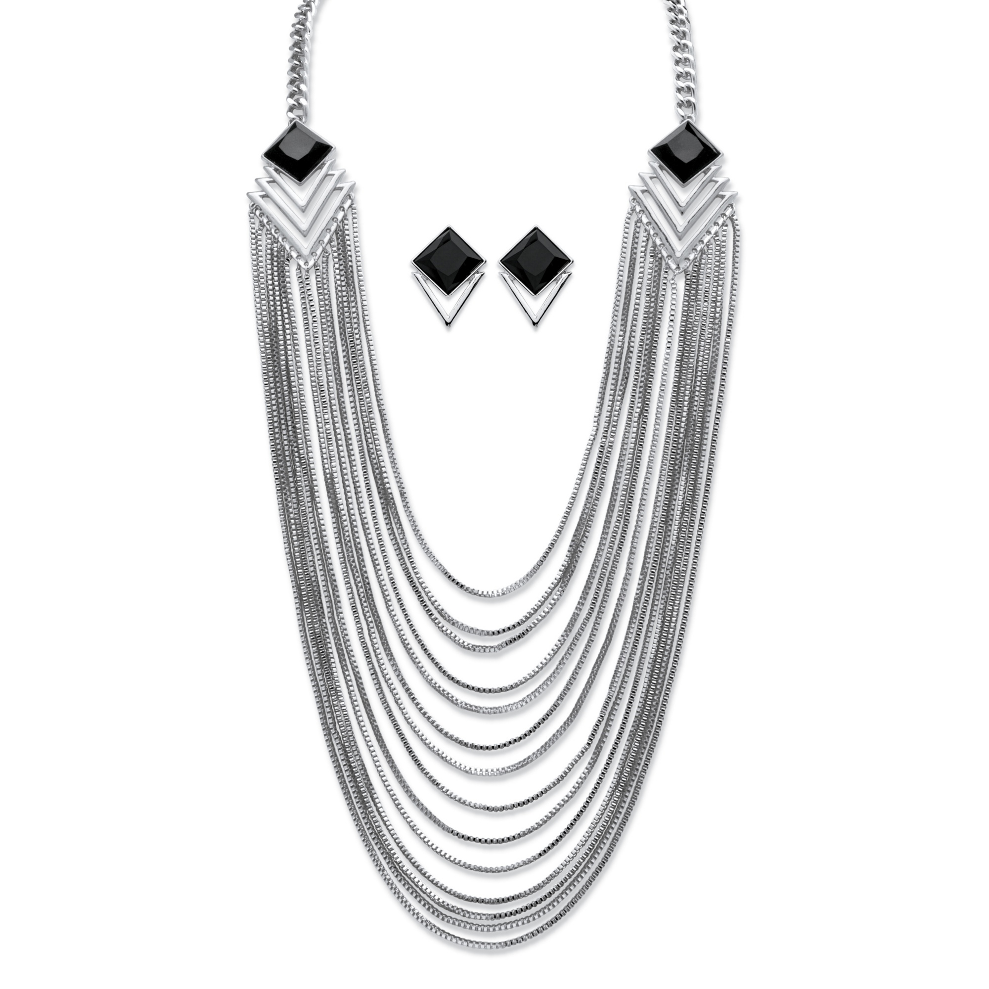 Black Crystal Art Deco-Inspired Multi-Strand Waterfall Necklace and Earrings Set in Silvertone