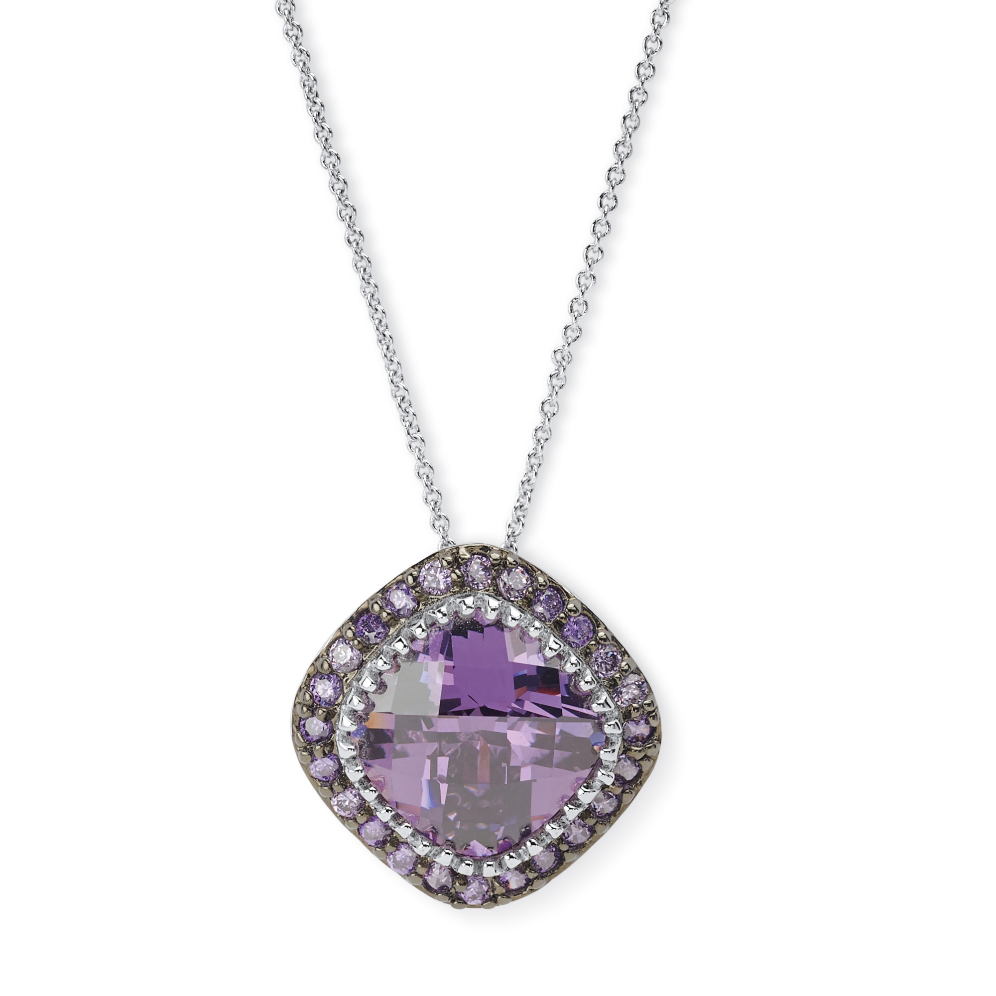 4.59 TCW Cushion-Cut Bezel-Set Amethyst Cubic Zirconia Pave Halo Pendant Necklace in Silvertone 16