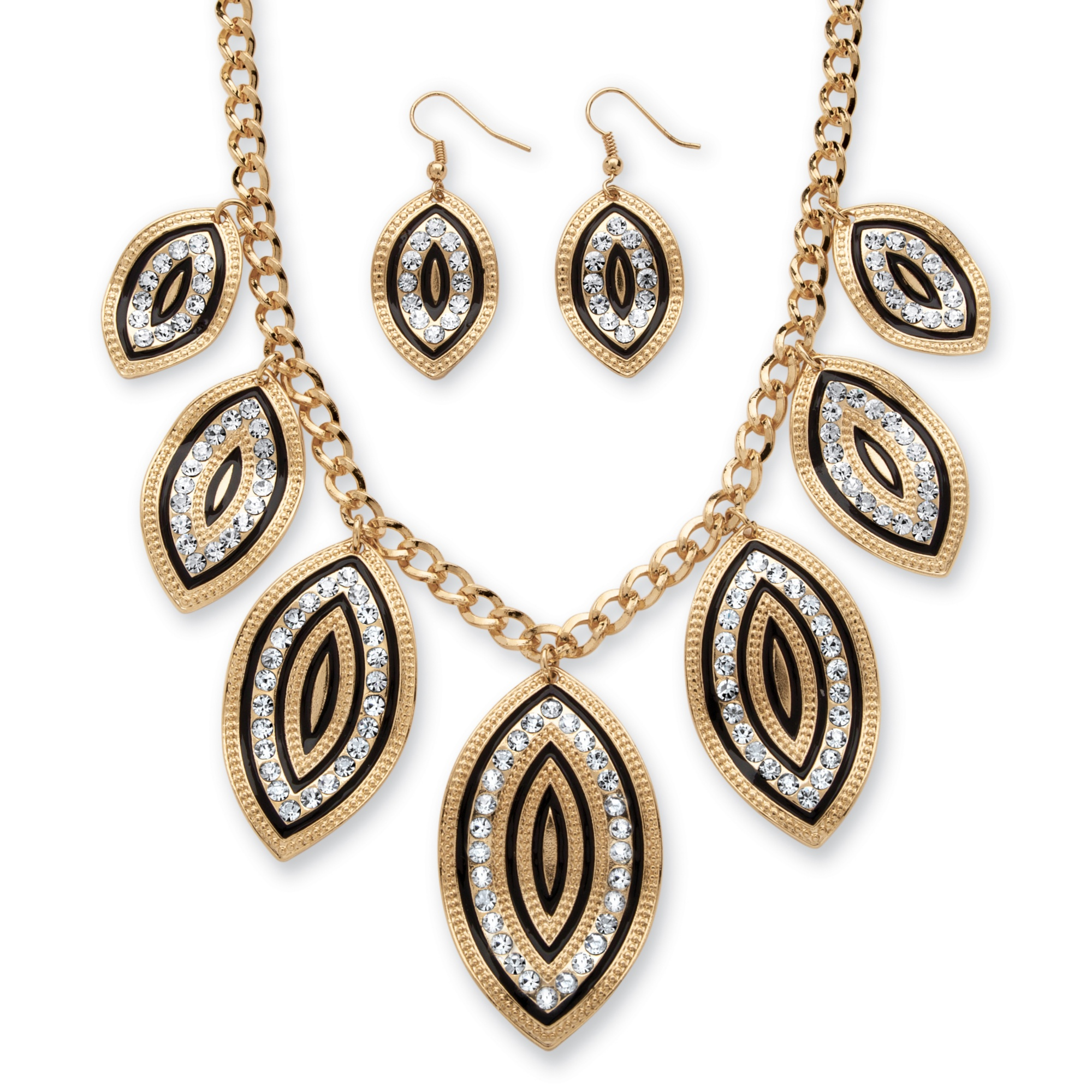Crystal and Black Enamel Leaf Motif Necklace and Earrings Set in Gold Tone