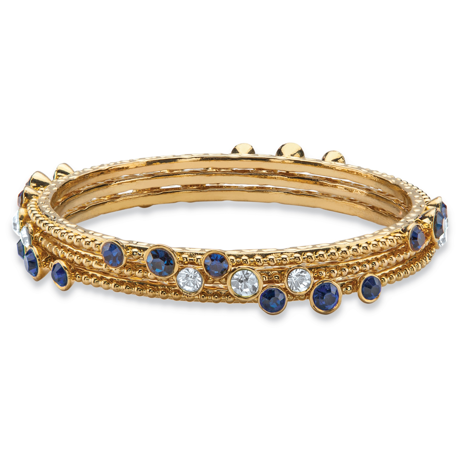 "PalmBeach Jewelry Simulated Blue Sapphire and White Crystal Three-Piece Hammered Bangle Bracelet Set in Gold Tone 9"" PartNumber: 00410903000P KsnValue: 9367003 MfgPartNumber: 57593"