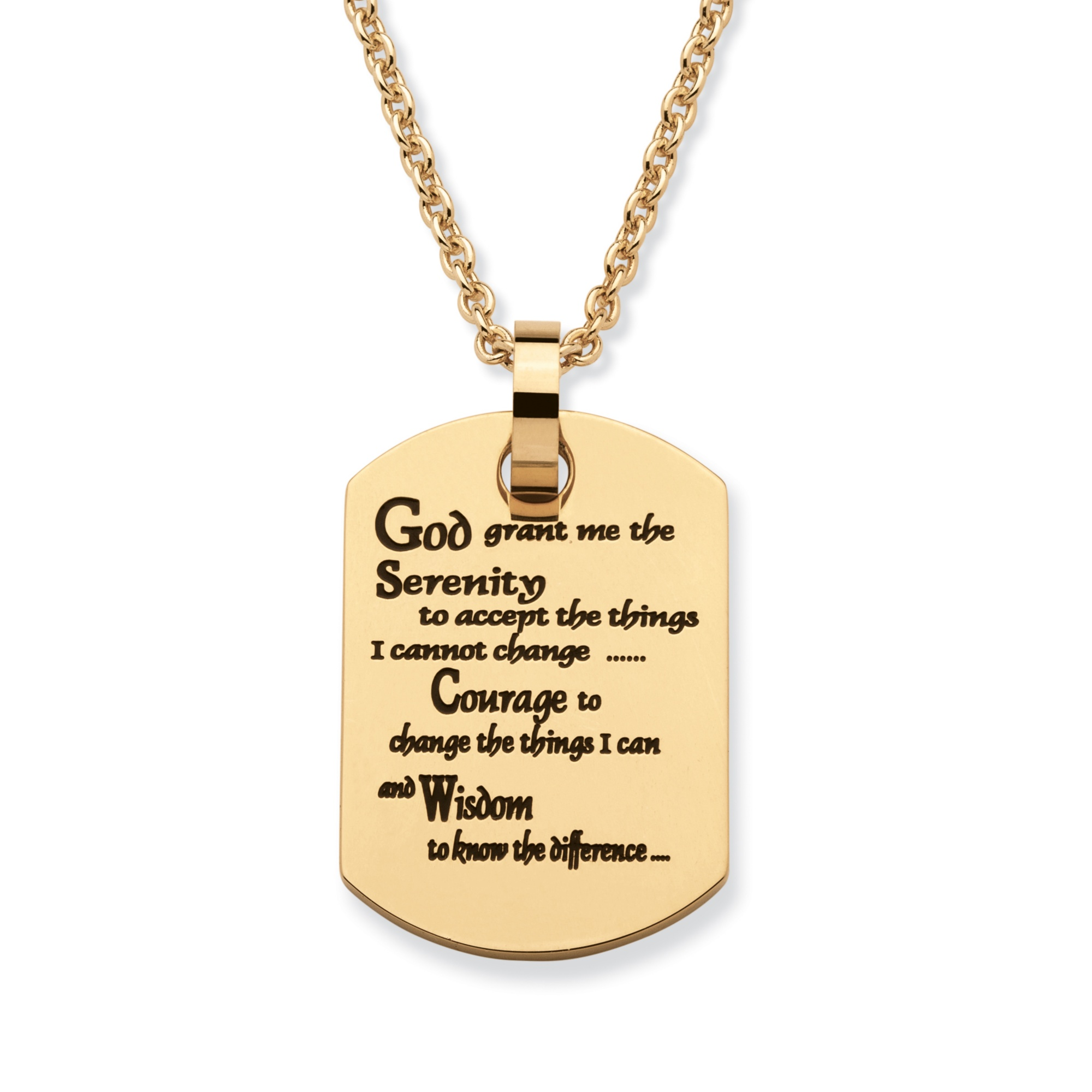 """PalmBeach Jewelry """"Serenity Prayer"""" Dog Tag Pendant Necklace in Gold Ion-Plated Stainless Steel 20"""" PartNumber: 00401115000P KsnValue: 9625478 MfgPartNumber: 56807"""