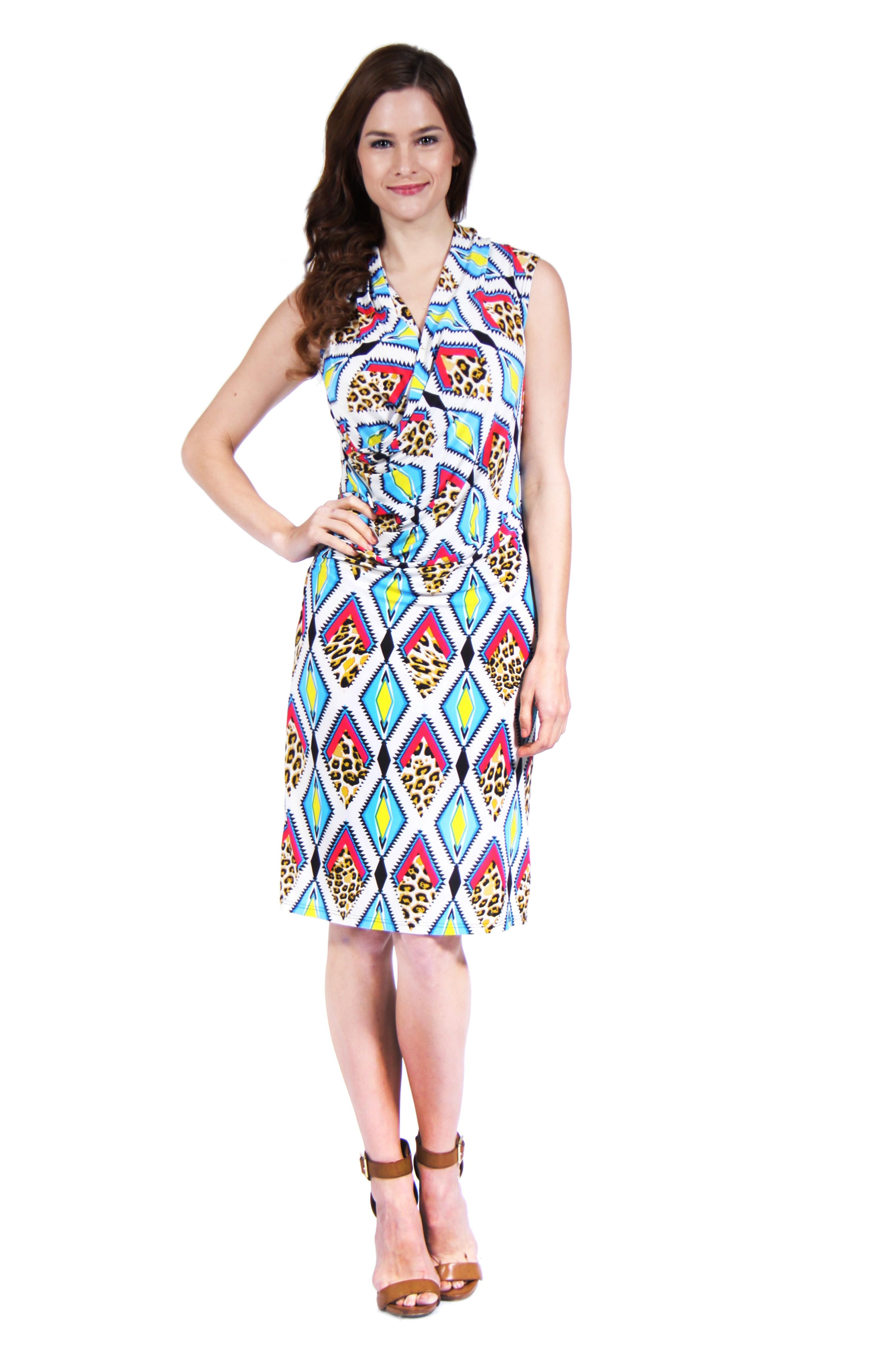 24/7 Comfort Apparel Women's Diamond Cheetah Print Dress