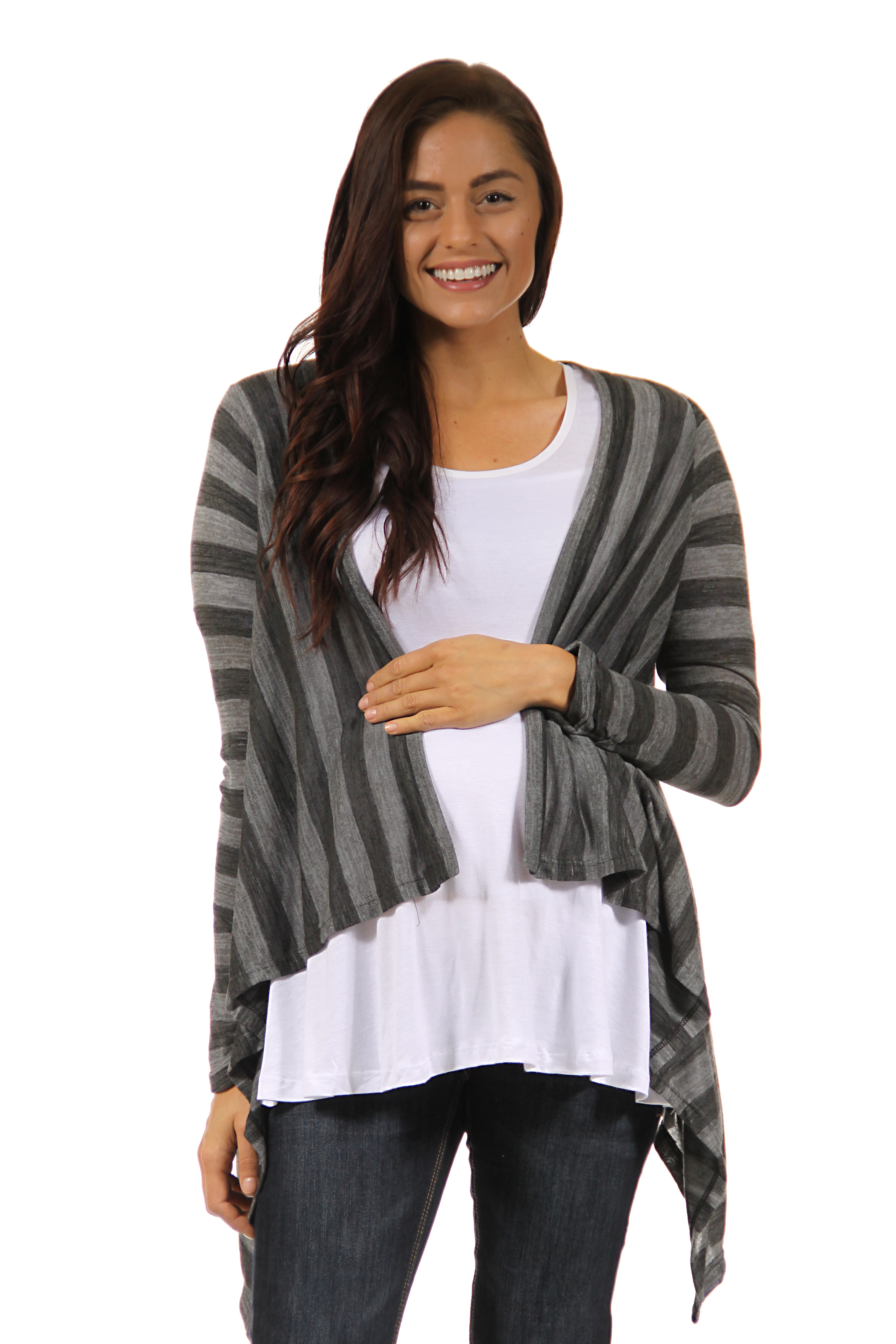 24/7 Comfort Apparel Women's Maternity Casual Charcoal Printed Shrug PartNumber: 3ZZVA83023312P MfgPartNumber: M316HST-S