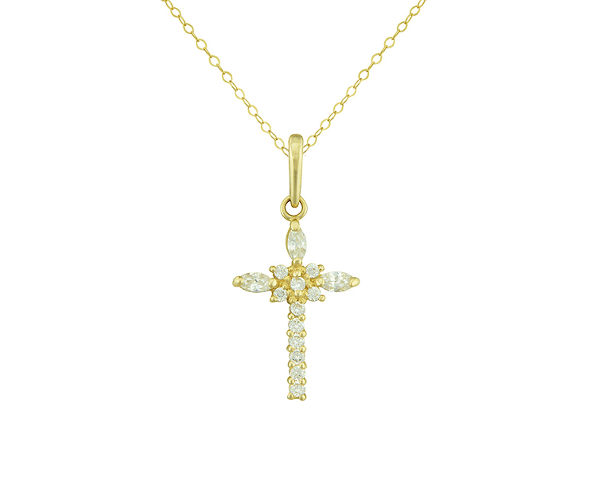 10K Cubic Zirconia Cross Pendant with Gold Filled Chain