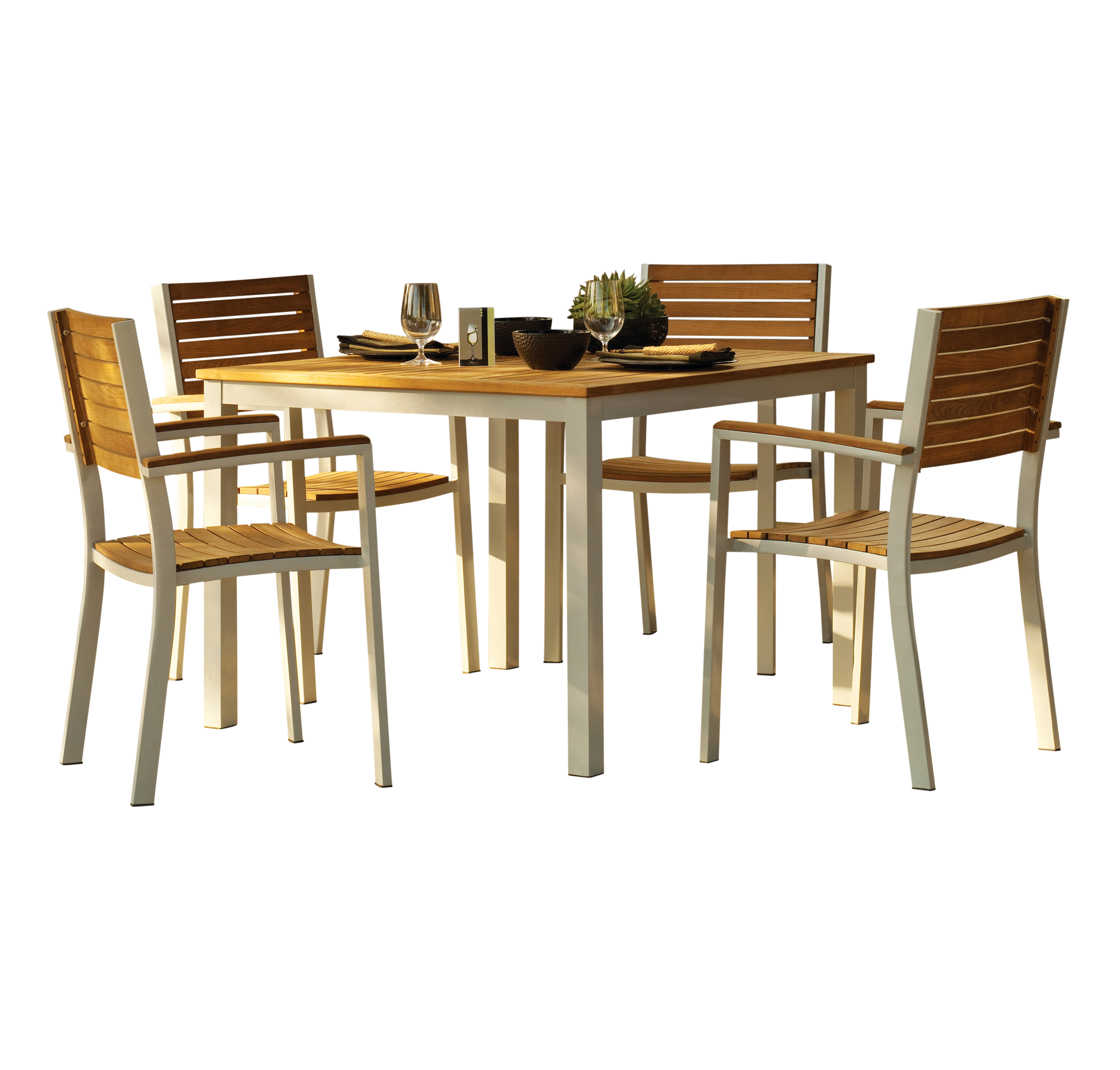 Oxford Garden Travira Commercial Grade 5-Piece Dining Set with Teak Table Top PartNumber: 07148402000P KsnValue: 07148402000 MfgPartNumber: 5040