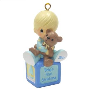 precious moments precious moments christmas ornament baby boy first christmas with bear 2017 - Baby Boy First Christmas Ornament
