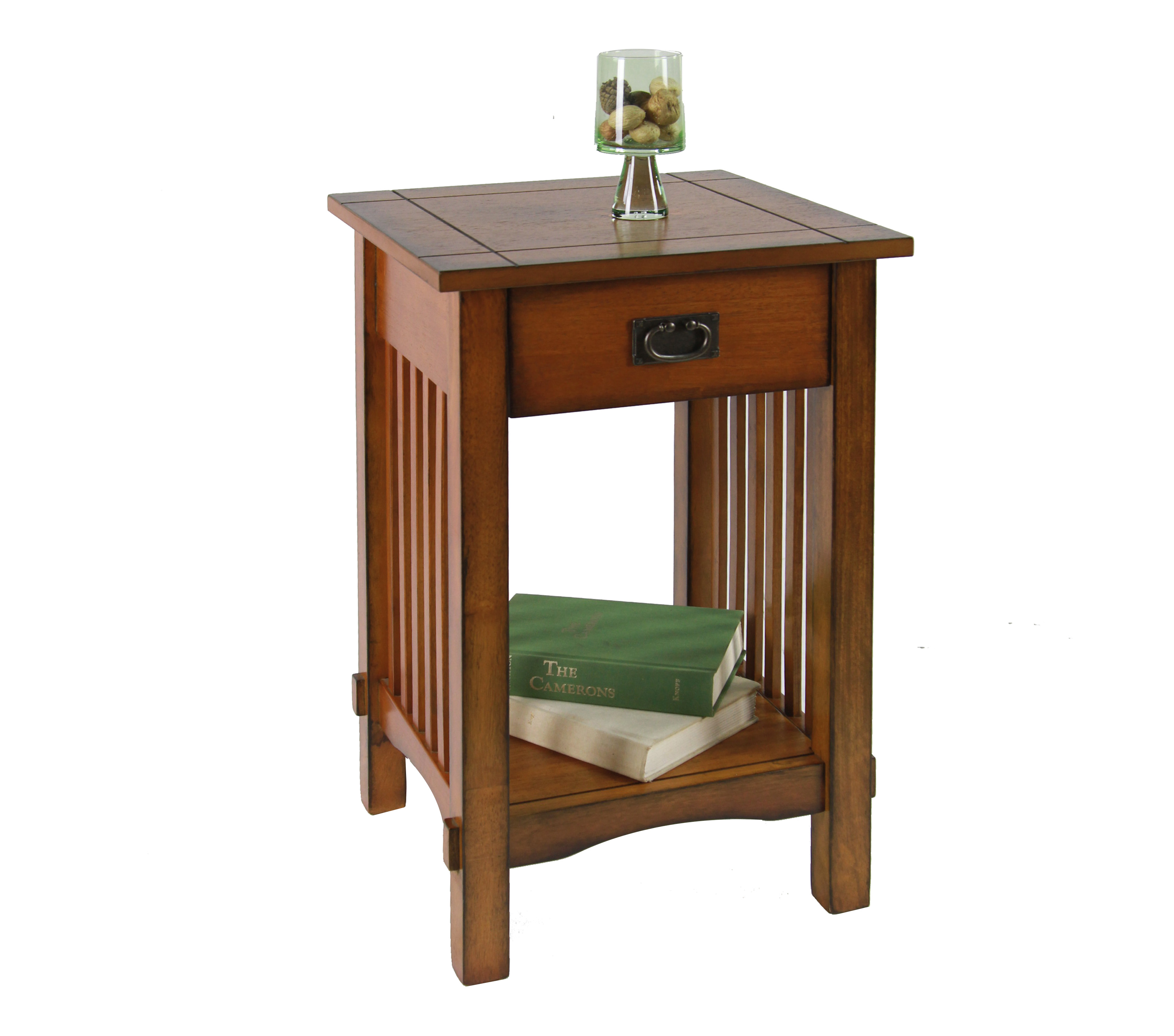 Furniture Of America Furniture Of America Monka Mission Antique Oak Side  Table With Storage Drawer Alternate