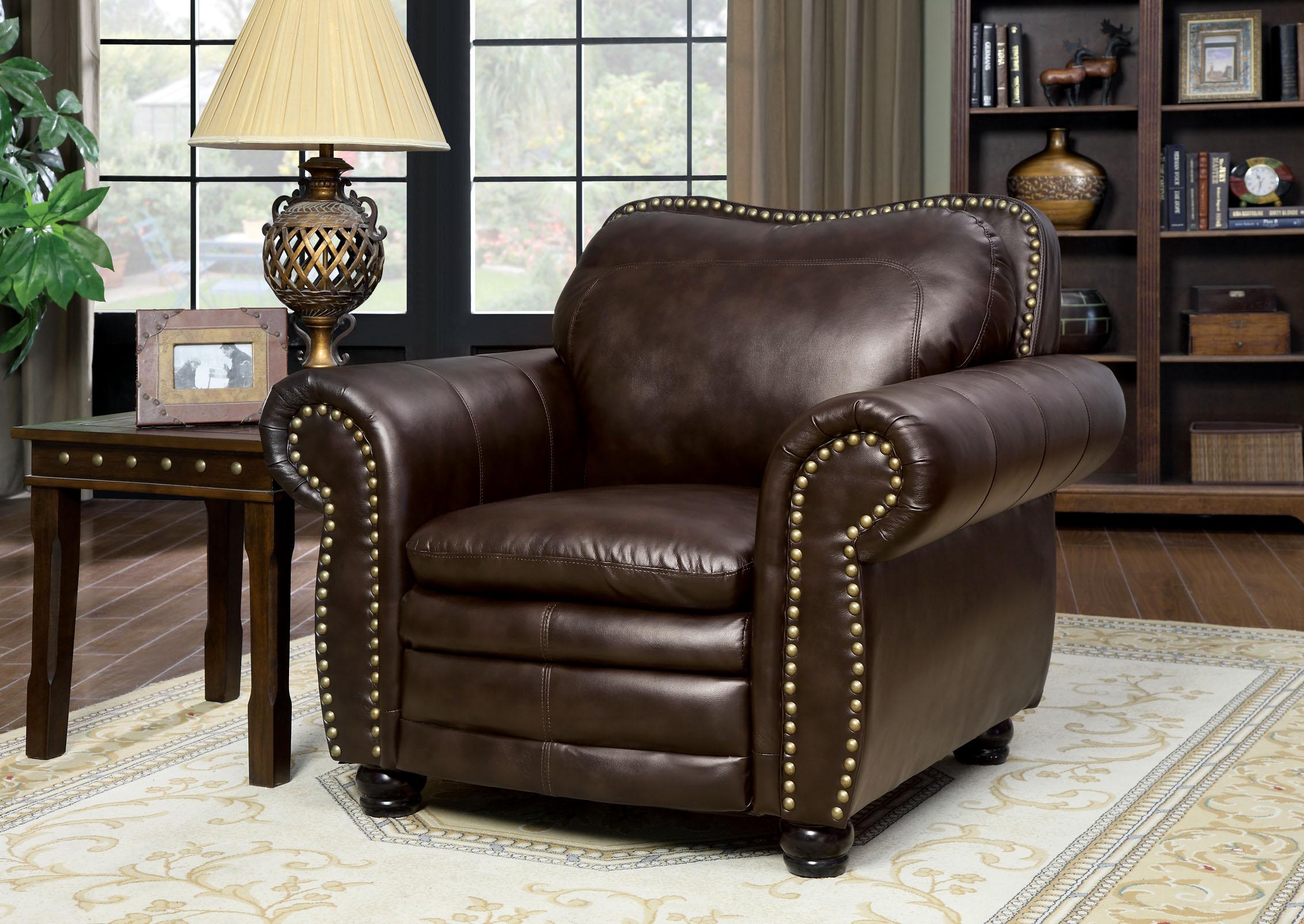 Furniture of America Dark Brown Poran Faux Leather Arm Chair