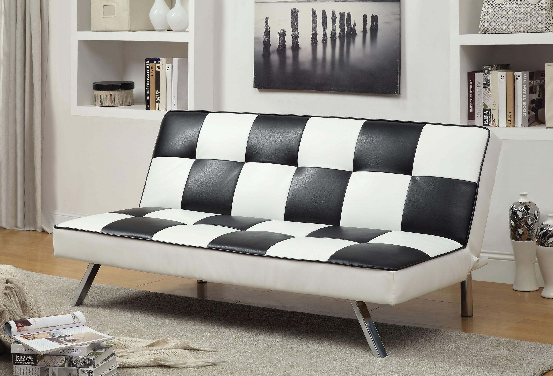 Furniture Of America Checkered Black White Leatherette