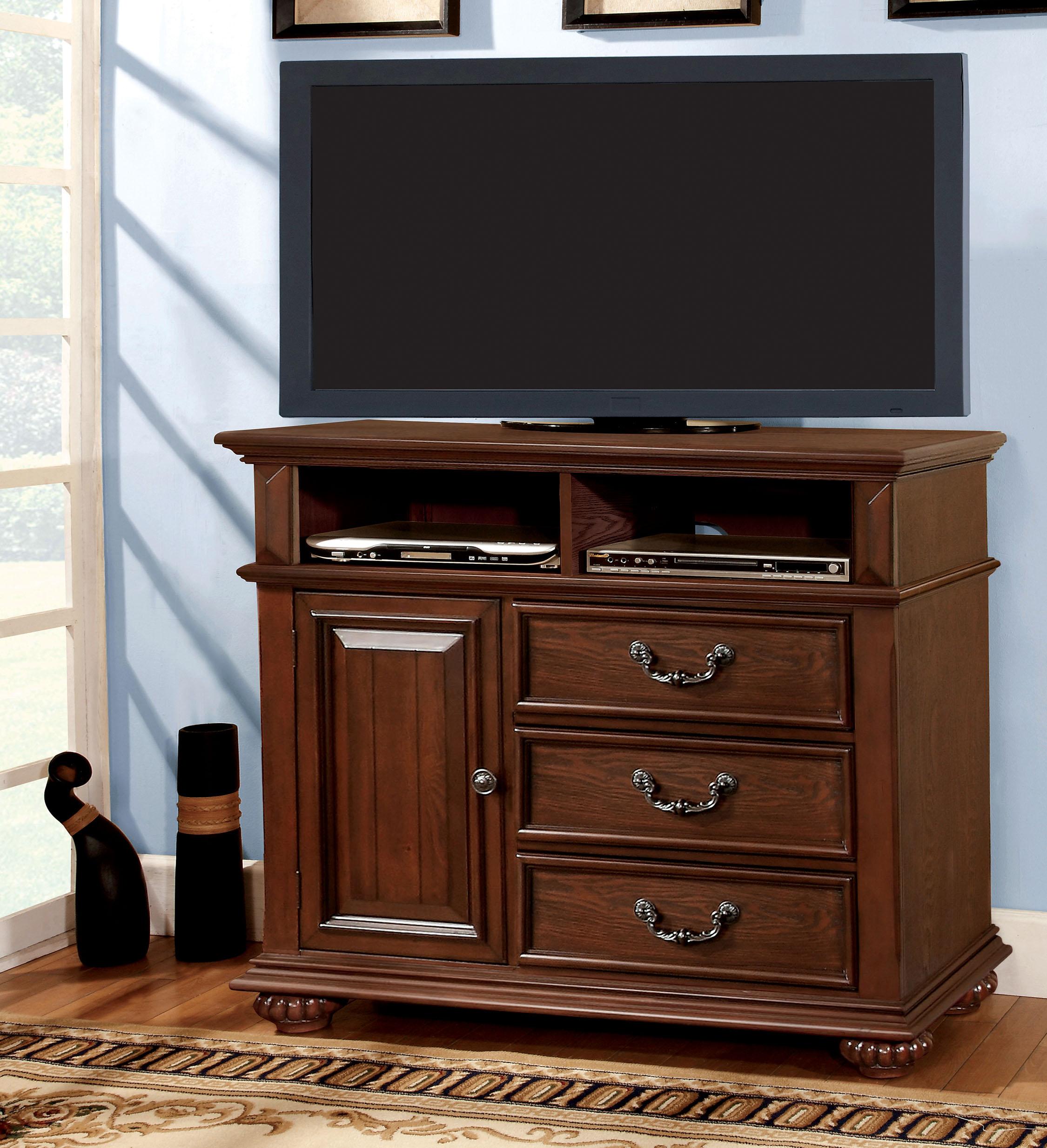 Furniture of America Antique Dark Oak Prompe Media Chest