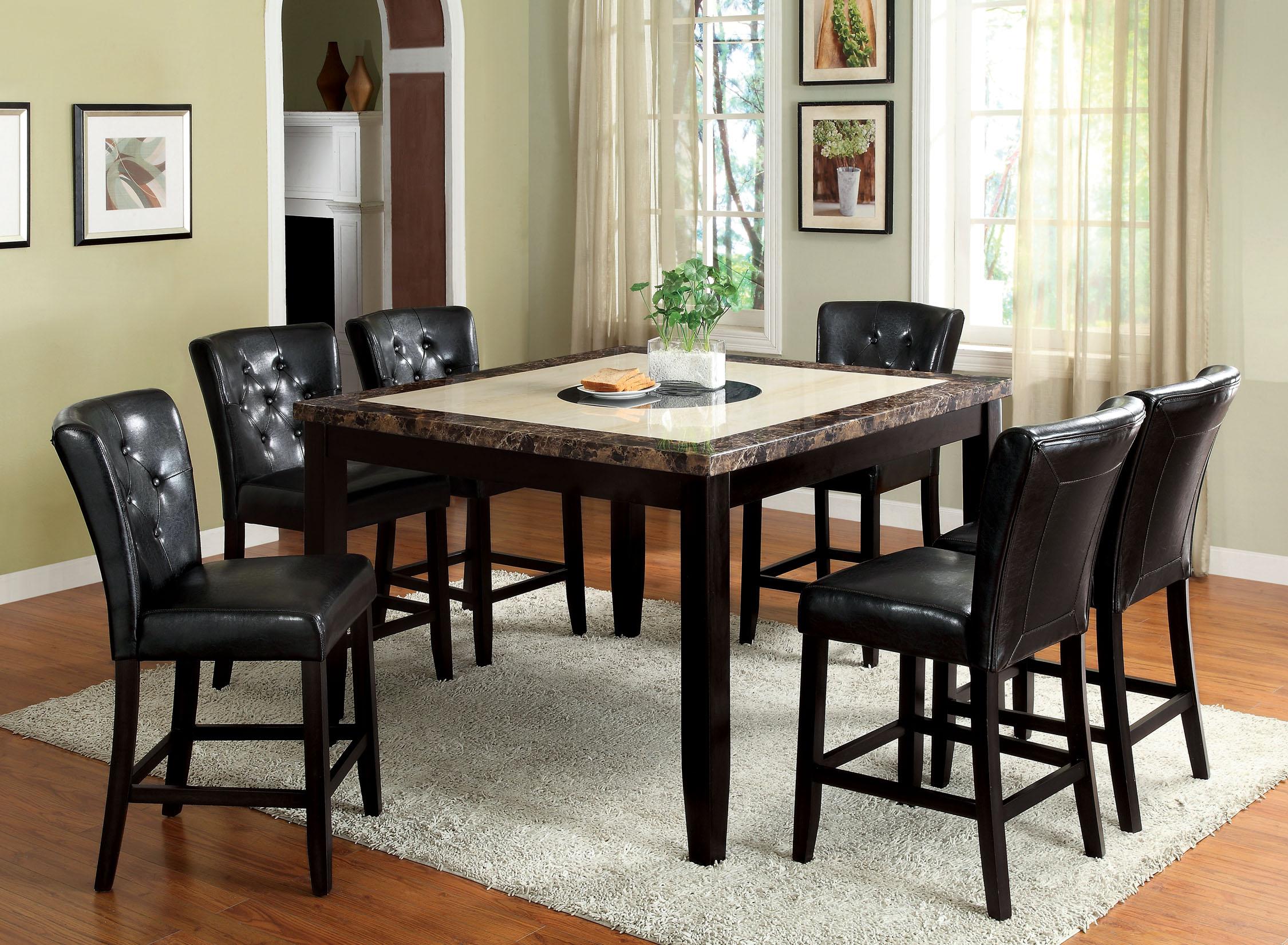 Furniture of America Black Edman 7 Piece Counter Height Set PartNumber: 00861596000P KsnValue: 8125782 MfgPartNumber: SJEG-5093QU-9QD