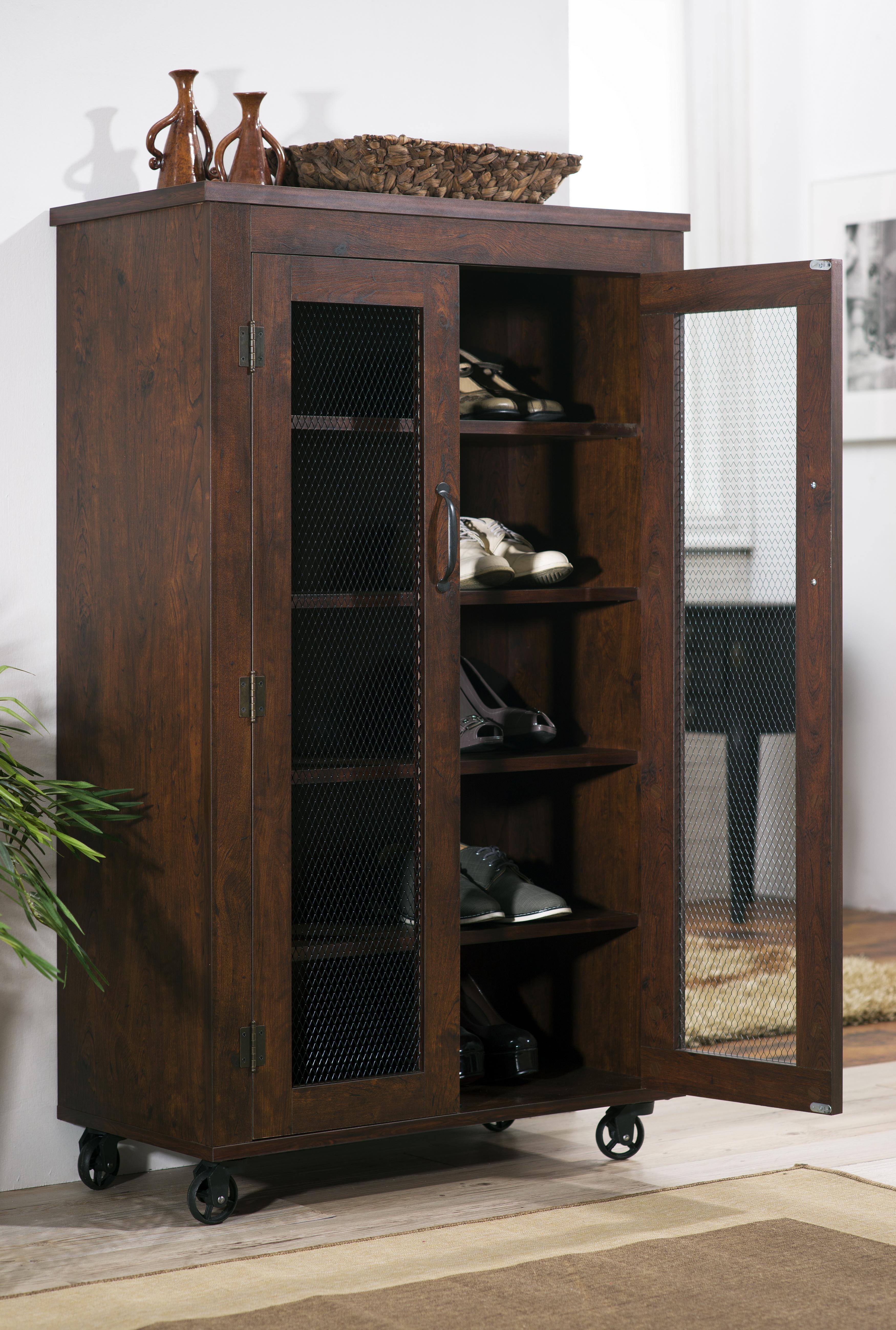 Furniture of America Vintage Walnut Tollins 5 Shelf Chest