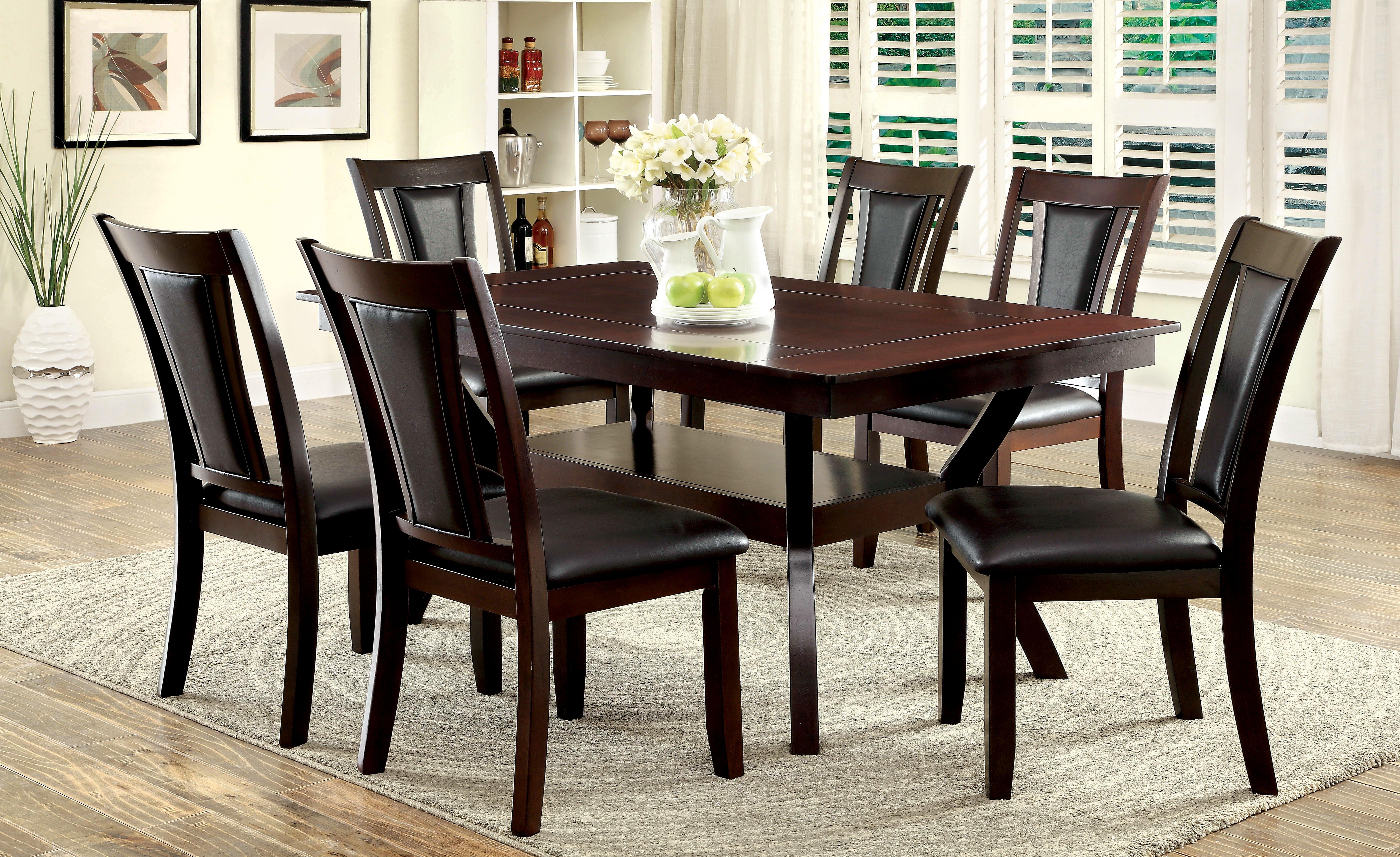 Furniture Of America Dark Cherry Darcie 7 Piece Wood Dining Set