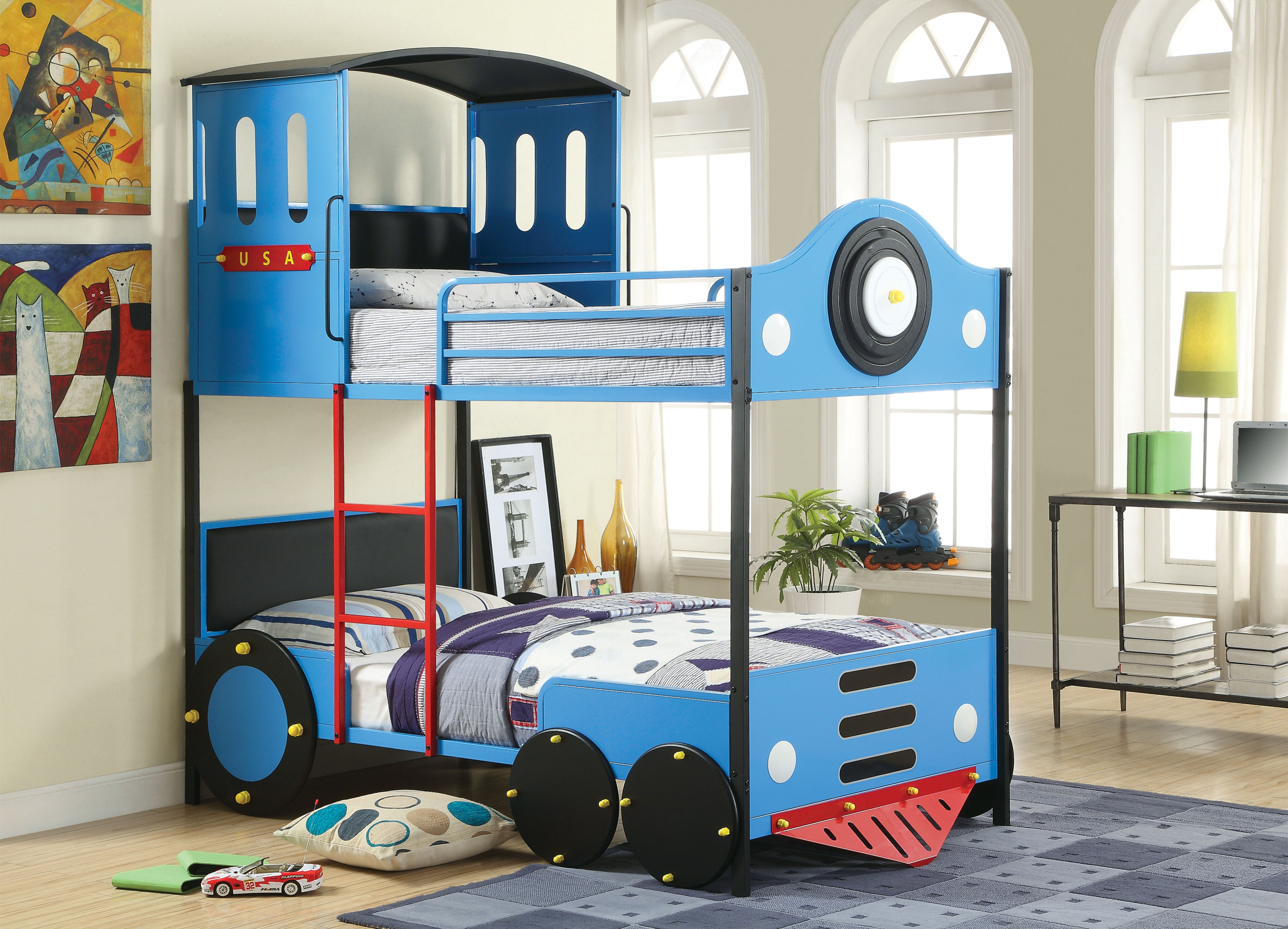 Furniture of America Blue Express Rail Twin over Twin Bunk Bed PartNumber: 00866416000P KsnValue: 7411242 MfgPartNumber: SJEG-CL3264