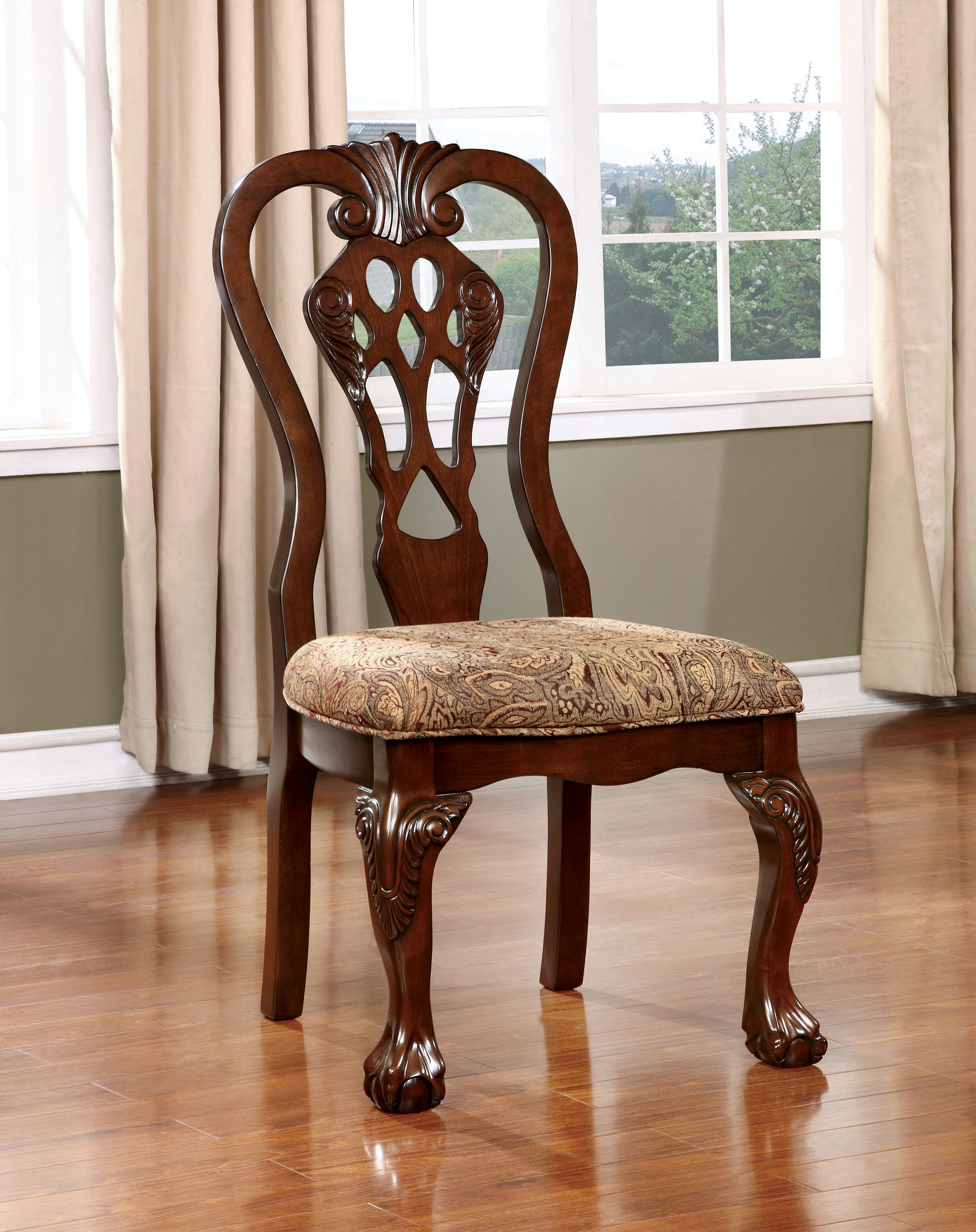 Furniture of America Madeline Fabric Upholstered Side Chair (Set of 2), Brown-SJEG-5434TD
