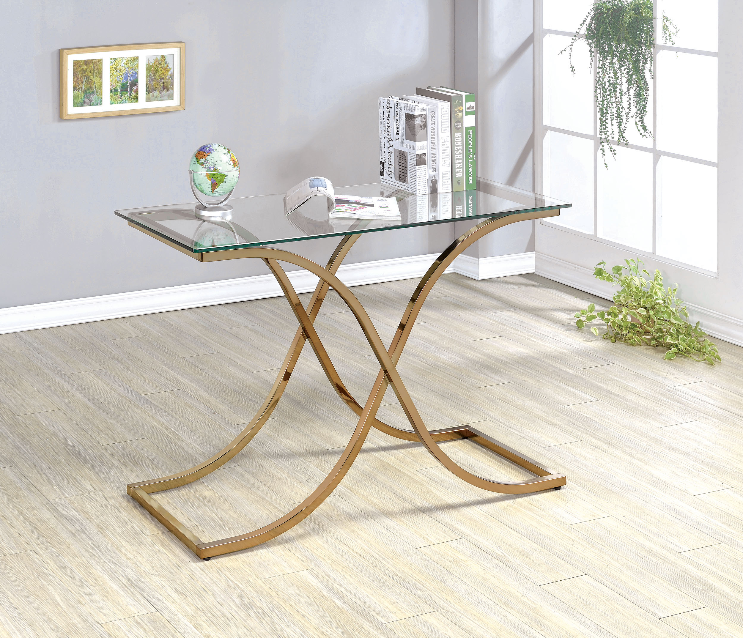 Furniture of America Lexine Curved X-Frame Champagne Side Table