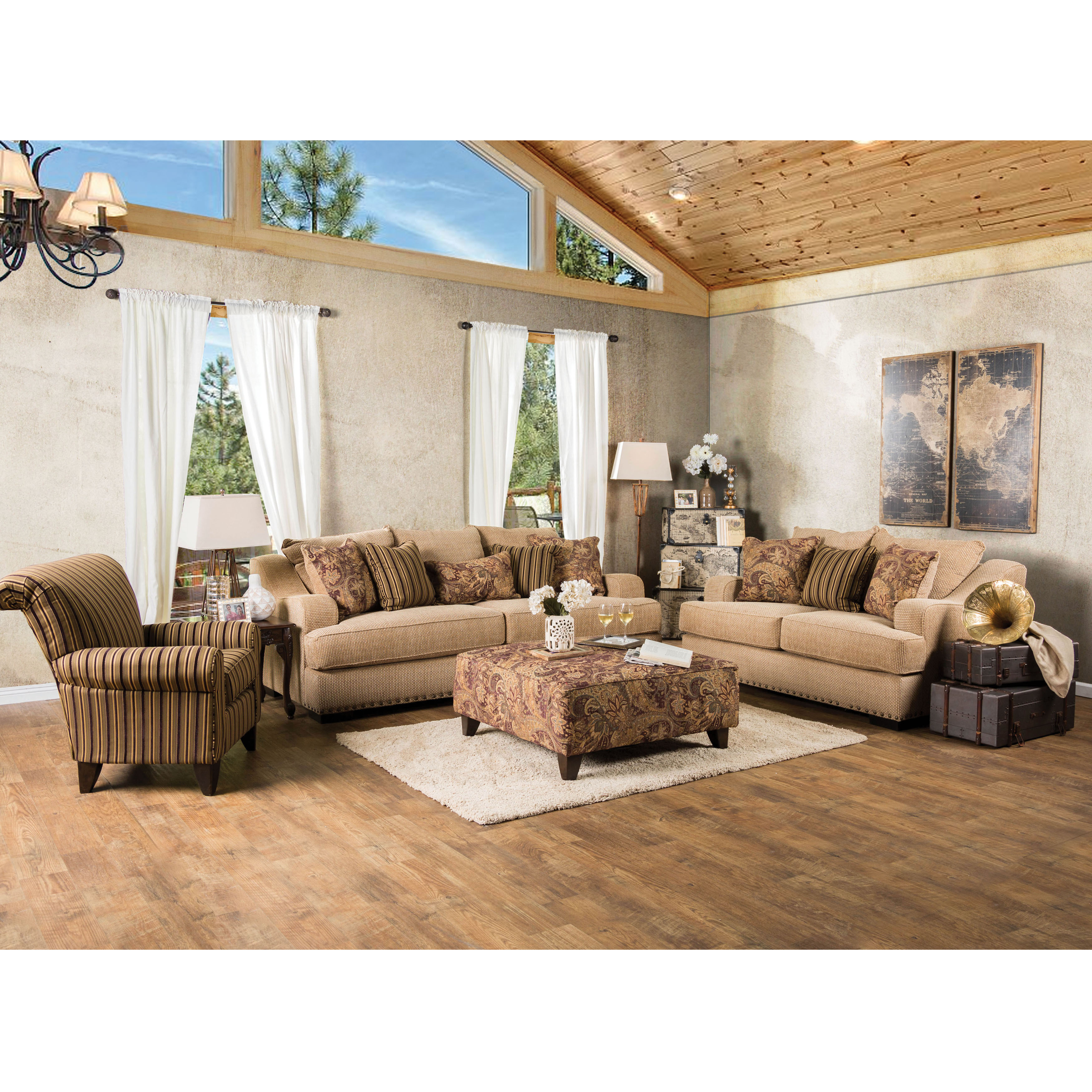 Furniture of America Wallys Traditional Brown Striped 3-Piece Sofa Set