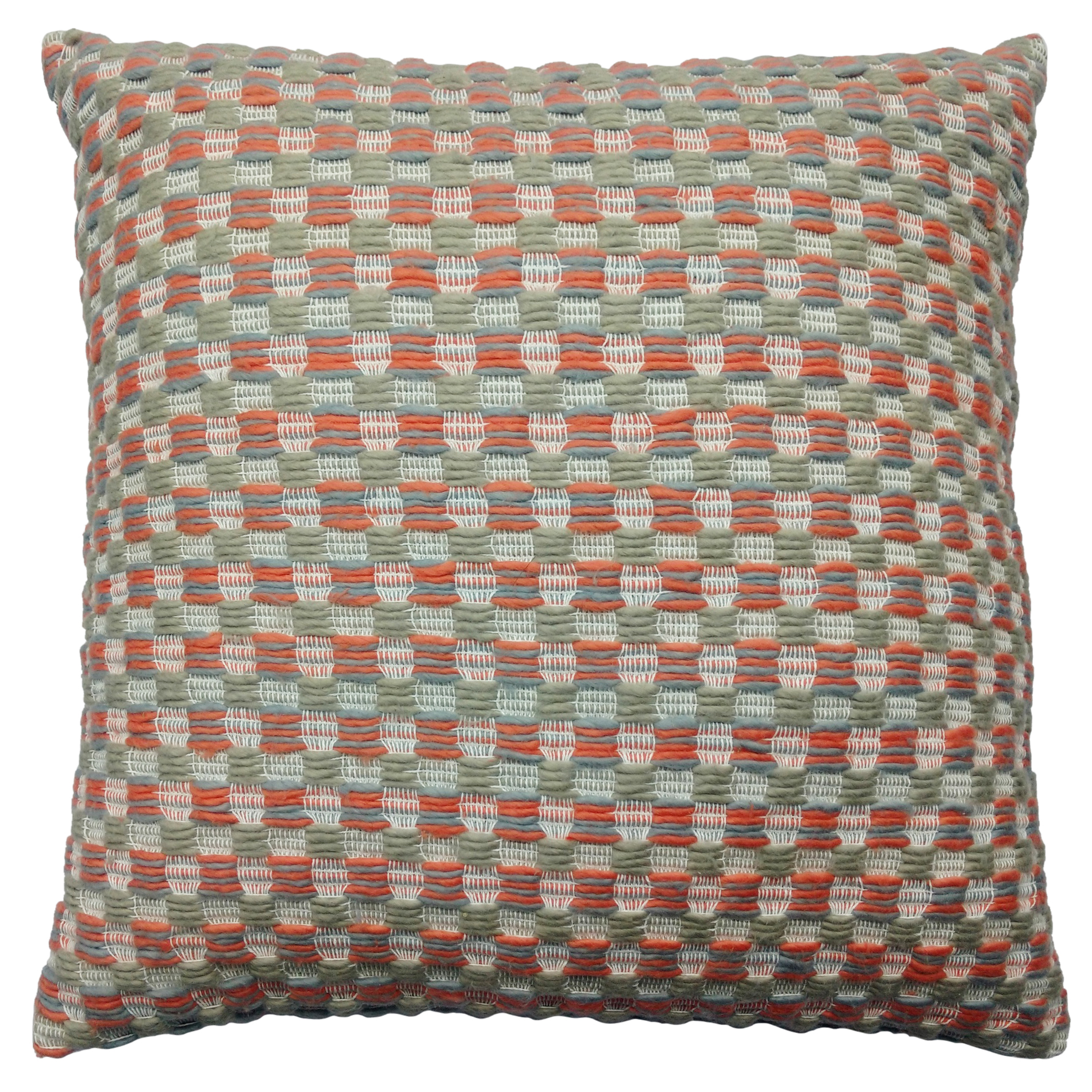 """Image of 16"""" x 16"""" Knit Decorative Pillow - Coral/Grey"""