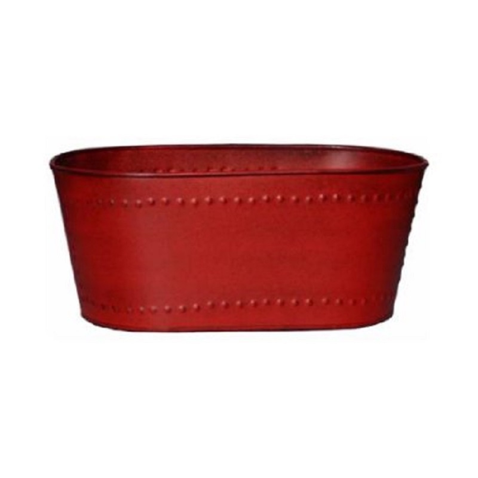 "Robert Allen Home & Garden Metal Oval Planter 10"""" Red"