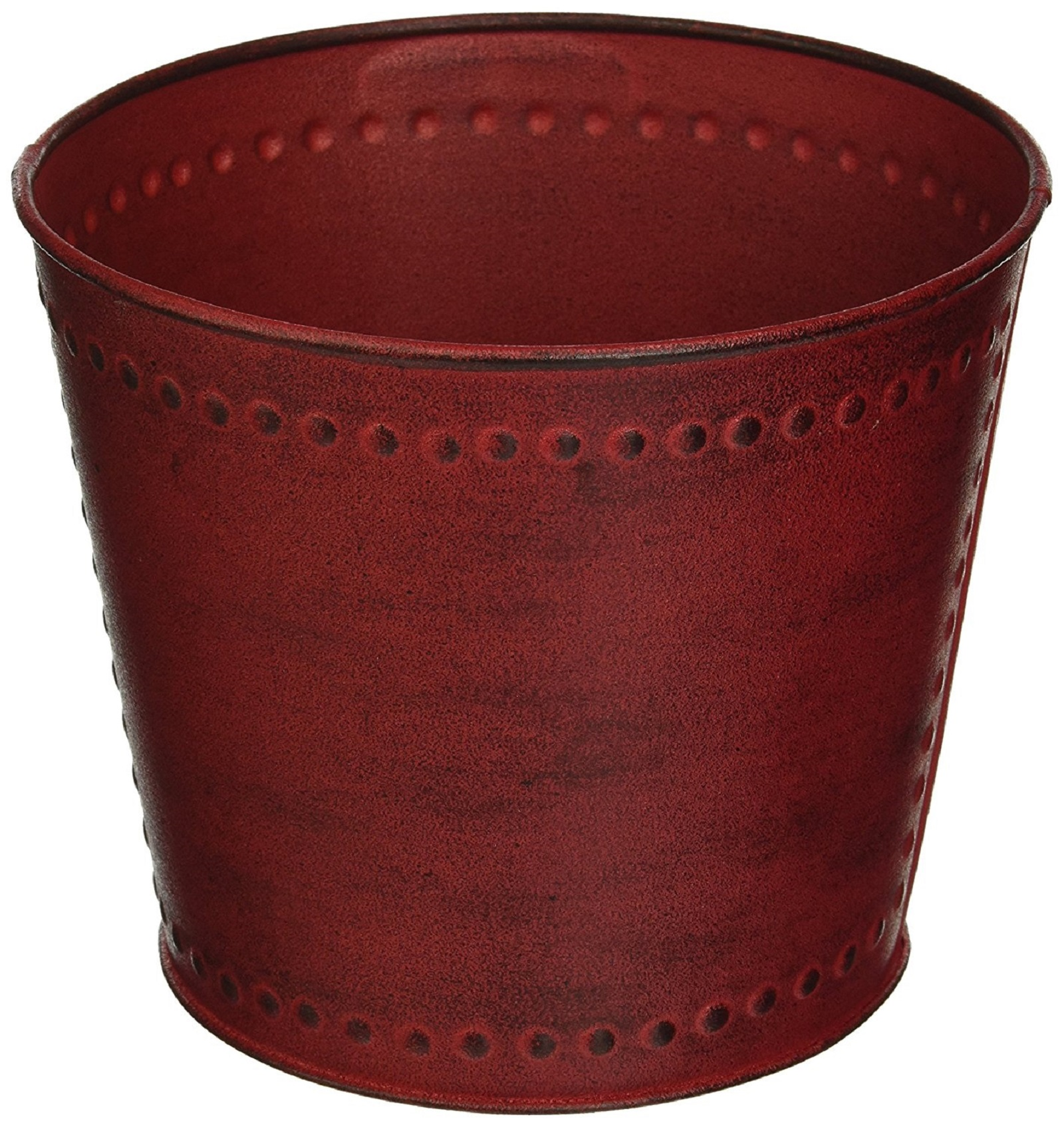 "Robert Allen Home & Garden Metal Round Planter 10"""" Red"