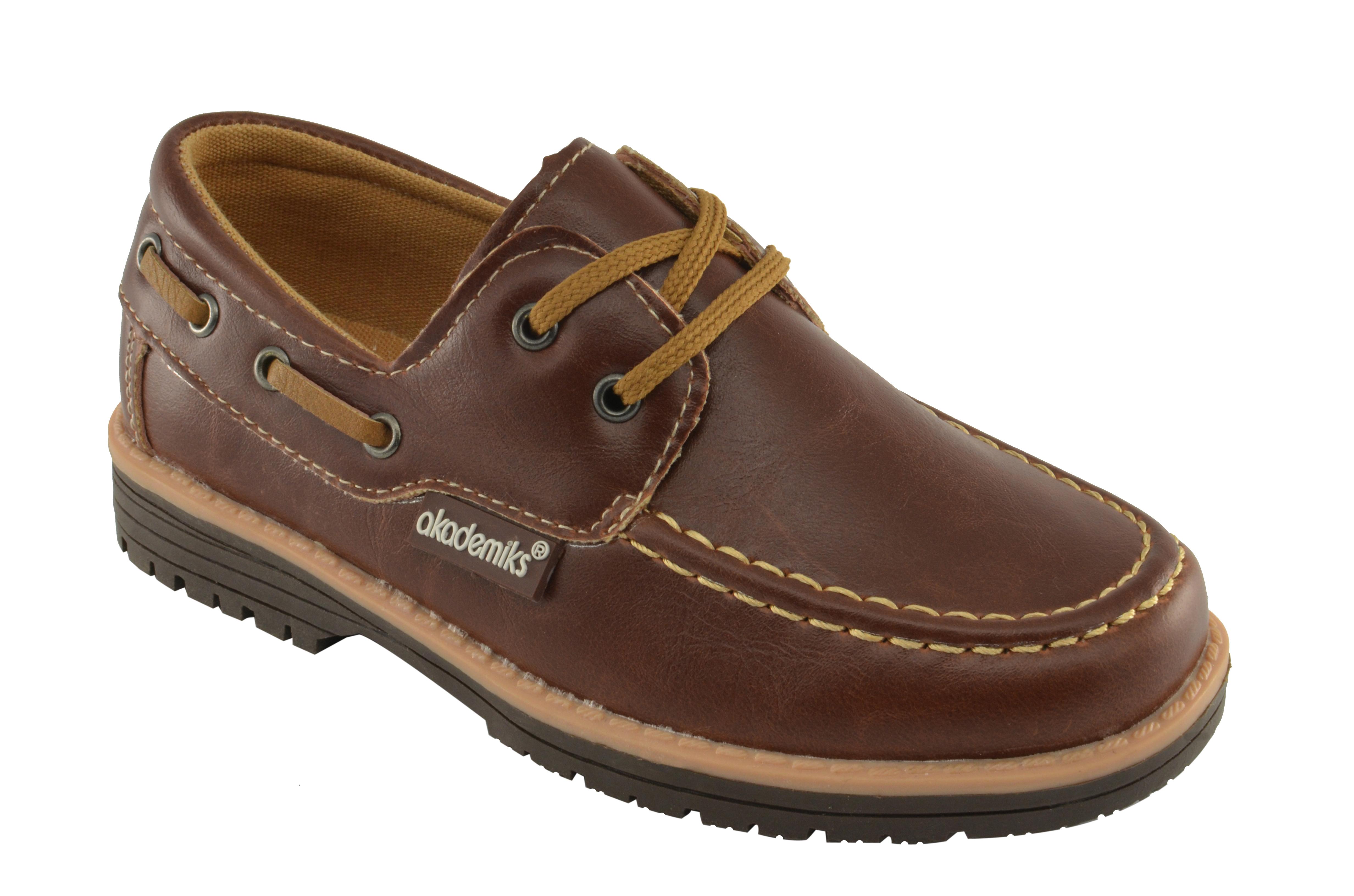 AKADEMIKS Boys Pat-02 Brown Boat Shoes