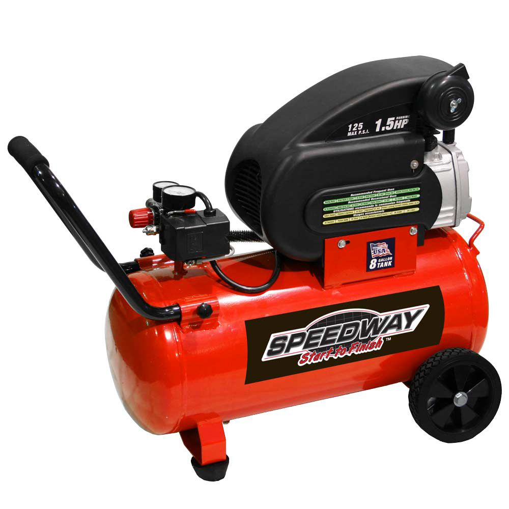Speedway Start to Finish 8-Gallon 1.5HP Portable Air Compressor- 8550 PartNumber: 00930660000P KsnValue: 3577609 MfgPartNumber: 8550
