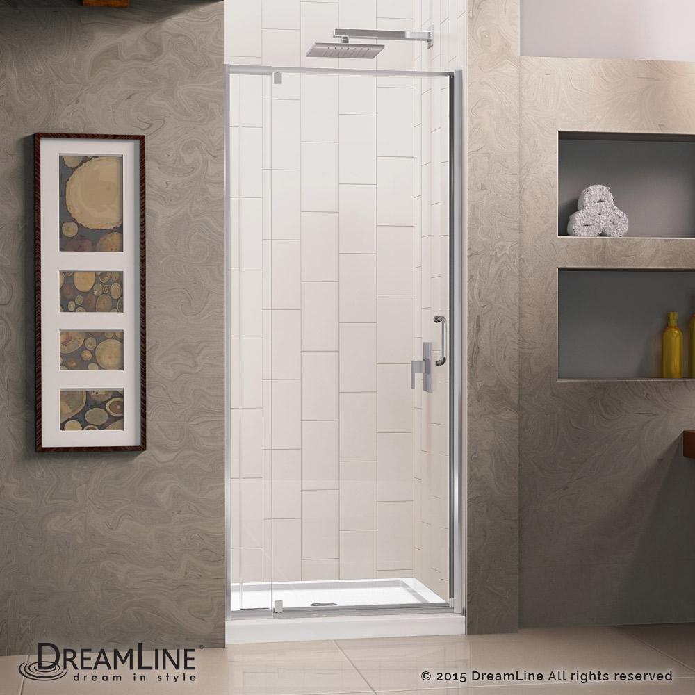 Dreamline Flex 32-in. W x 32-in. D x 74-3/4-in. H Frameless Shower Door and Base Kit Chrome Finish Hardware