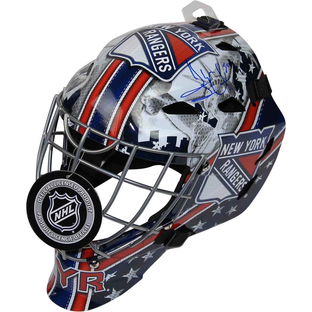 Henrik Lundqvist Signed New York Rangers Full Size Replica Shield Logo Goalie Mask