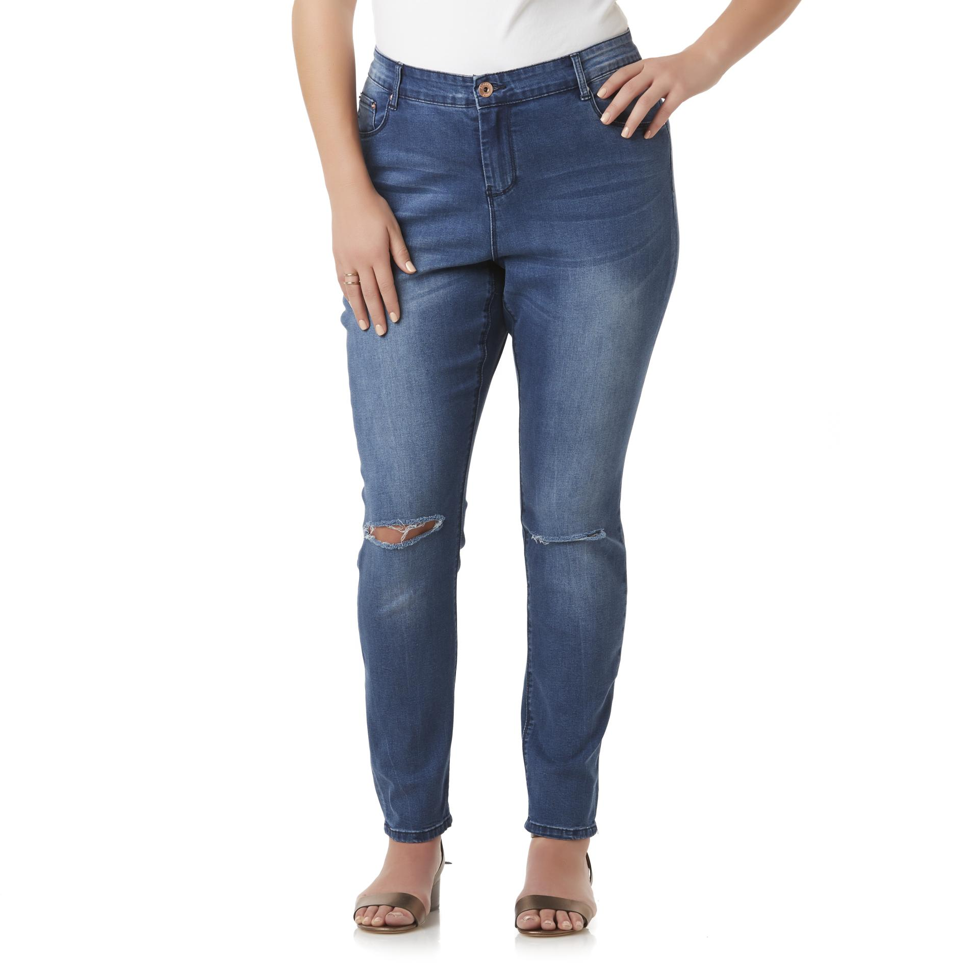 Women's Plus Distressed Skinny Jeans