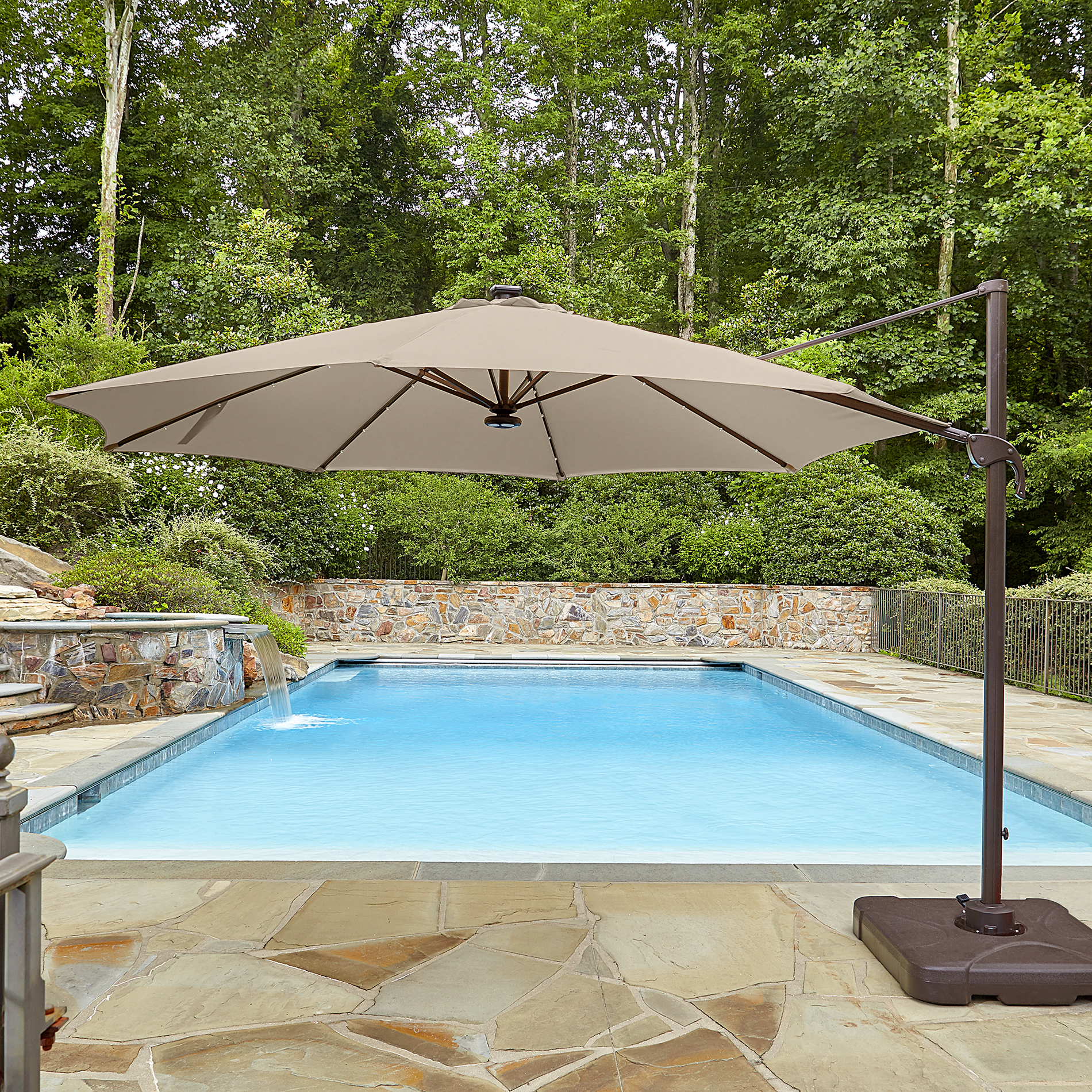 Garden Oasis 11 Ft Solar Powered Bluetooth and Lighted Offset Umbrella