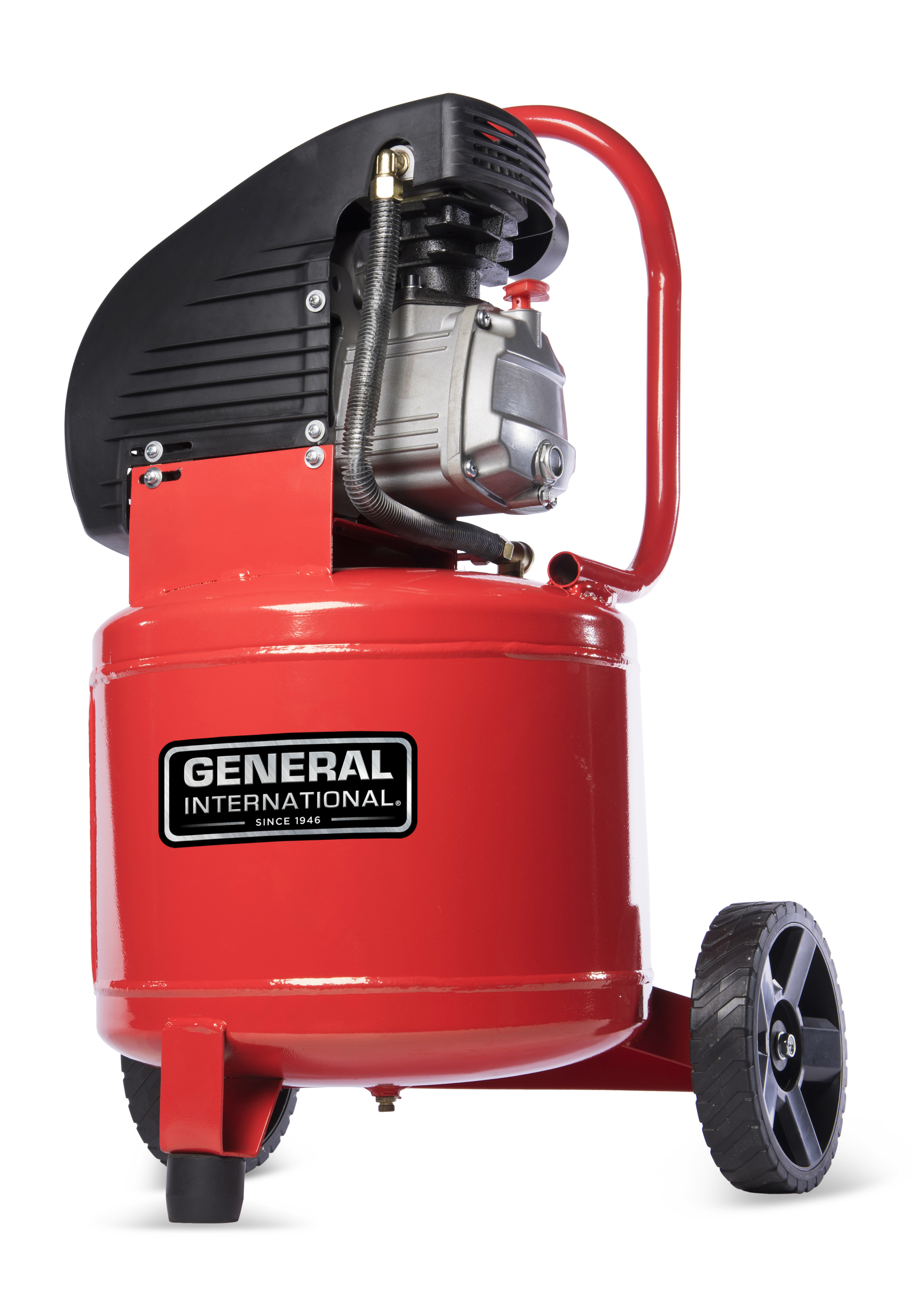 General International 2HP 11 gal vertical oil-lubricated electric air compressor with wheels- AC1104