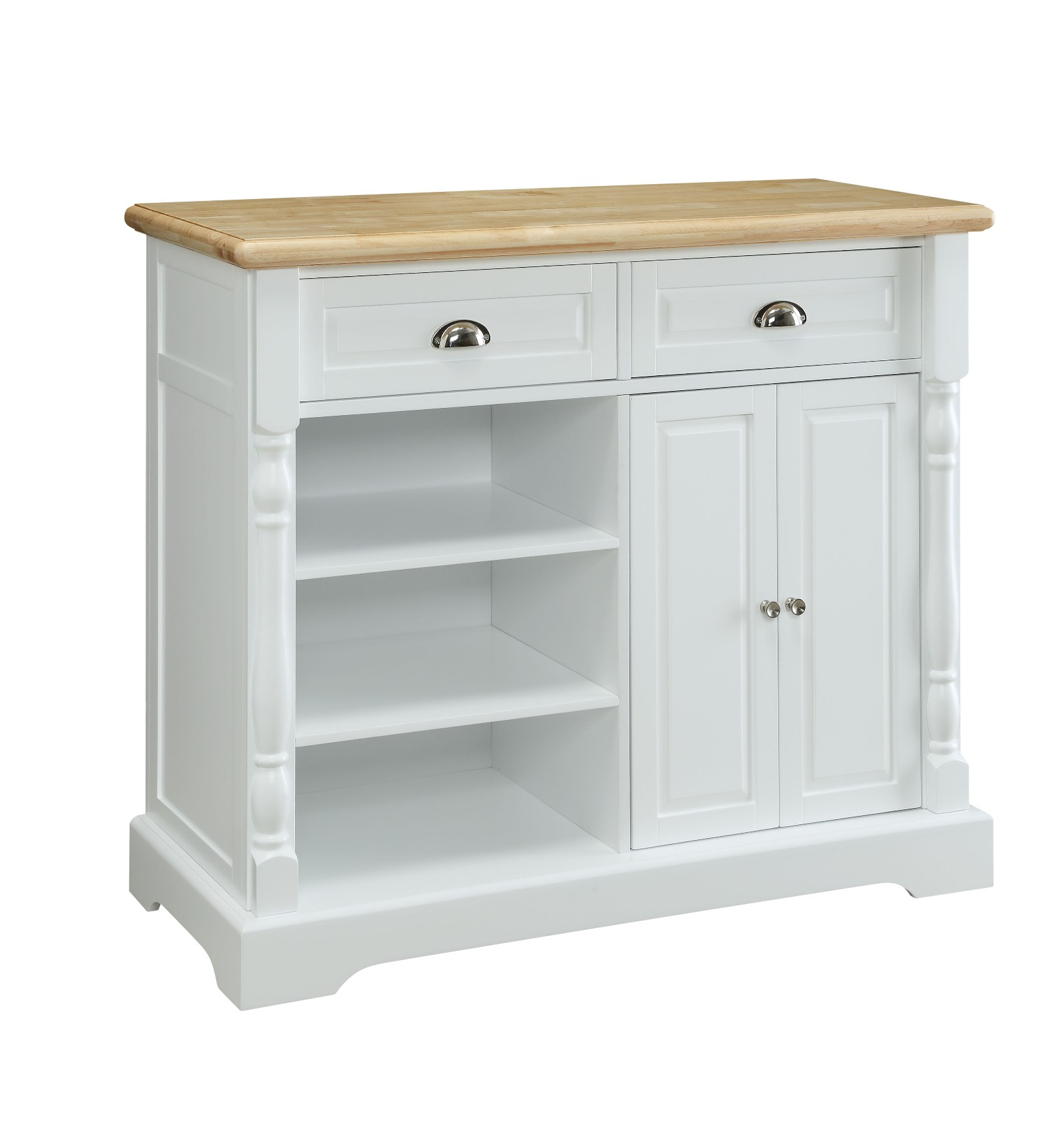 Essential home kitchen cart white natural