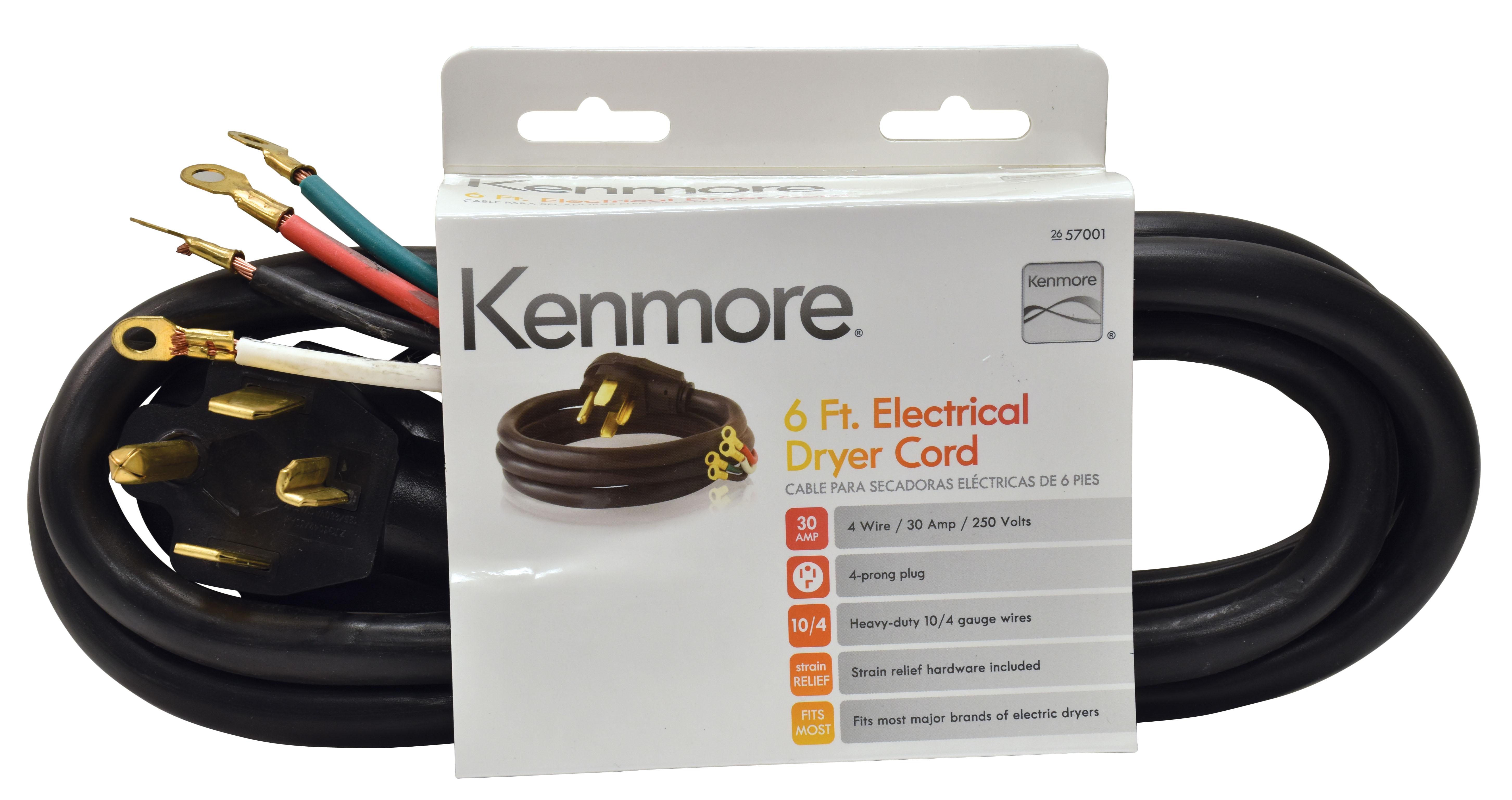 kenmore 99921 57001 4 prong 6 round dryer cord black rh sears com Kenmore 110 Dryer Schematic Model 110 73952101 Kenmore Electric Dryer Wiring Diagram