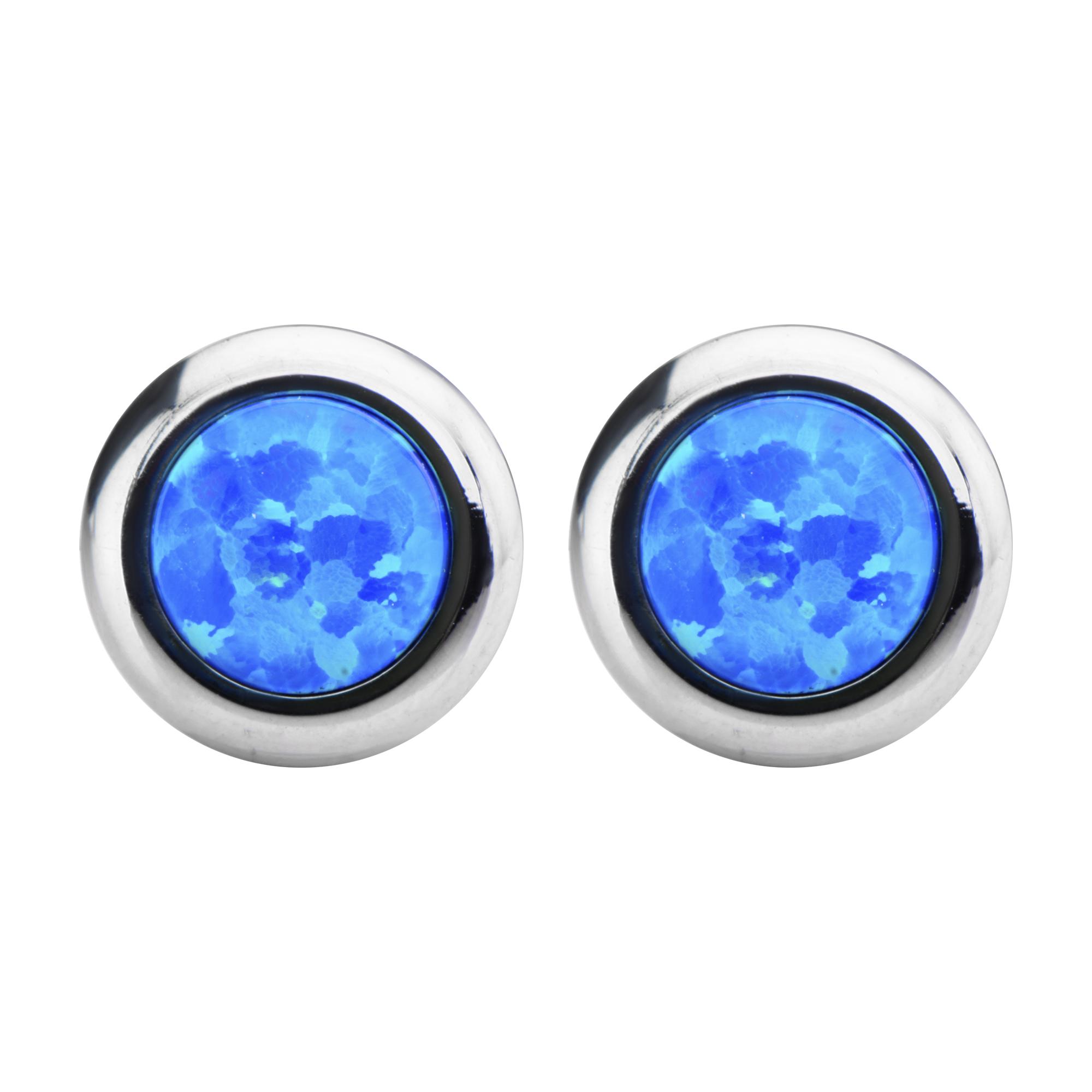 Inox Jewelry Women's Stainless Steel Bezel Set Blue Synthetic Opal Stud Earrings PartNumber: 04437949000P KsnValue: 04437949000 MfgPartNumber: SSE722BO