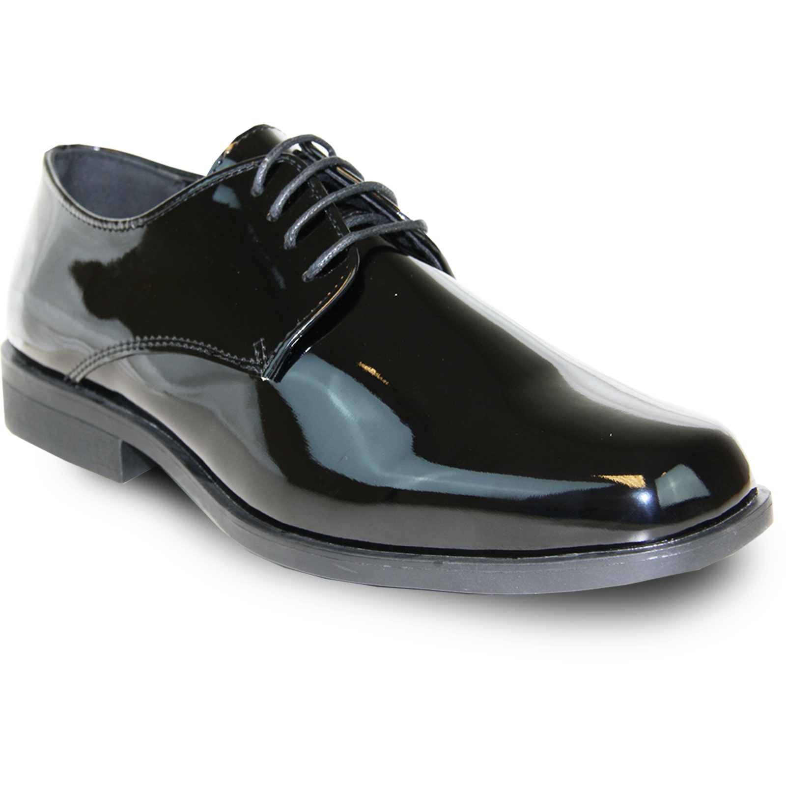 VANGELO Men's Tux-1 Black Patent Dress Oxford - Wide Width Available