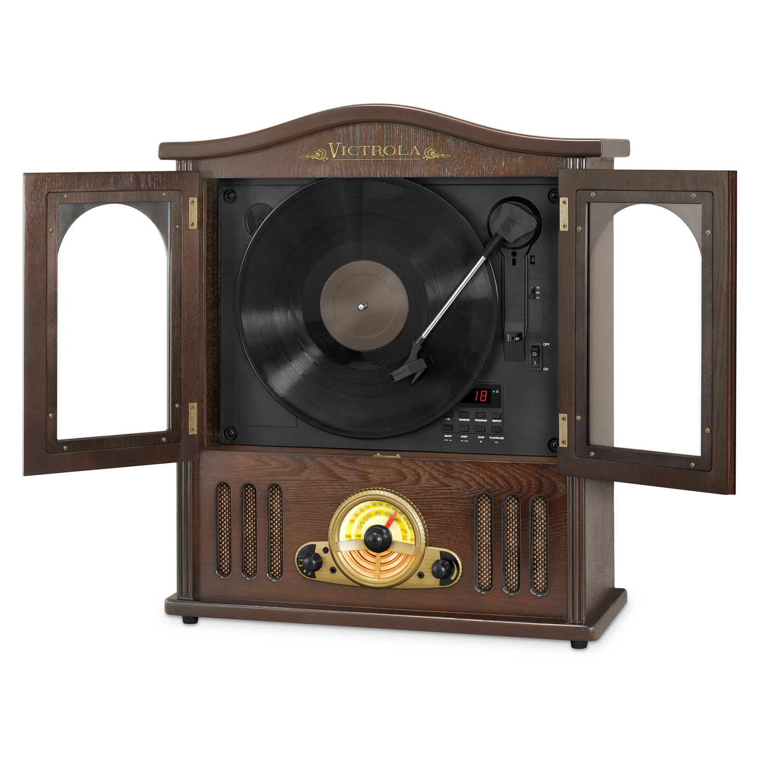 victrola vta 25 wooden wall mount nostalgic record player with vertical turntable cd and bluetooth. Black Bedroom Furniture Sets. Home Design Ideas