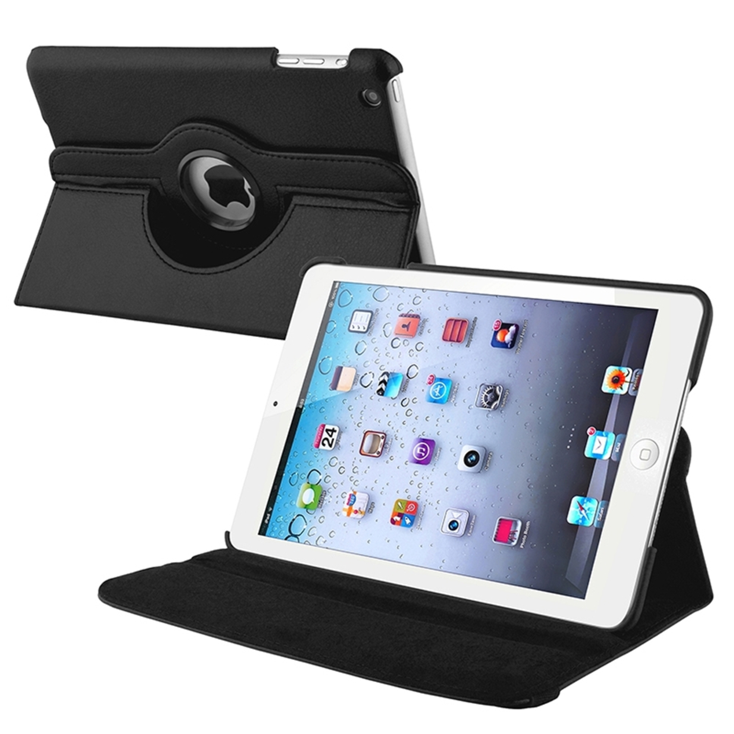 Insten Swivel Stand Folio Flip Leather Case Cover Compatible With Apple iPad Mini 1/2/3, Black PartNumber: 05743778000P KsnValue: 8444843 MfgPartNumber: 809502