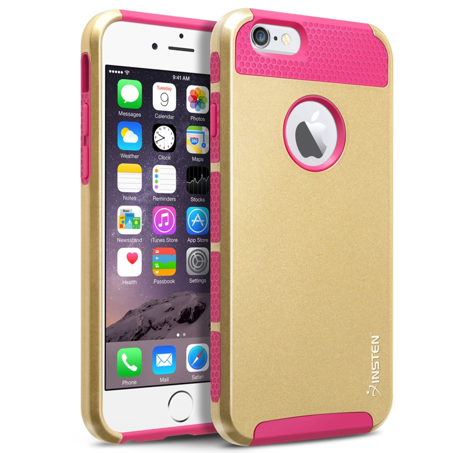 Insten Dual Layer Hybrid PC/Silicone Case Cover Compatible With Apple iPhone 6/6s, Gold/Hot Pink PartNumber: 05743861000P KsnValue: 8445256 MfgPartNumber: 1939408