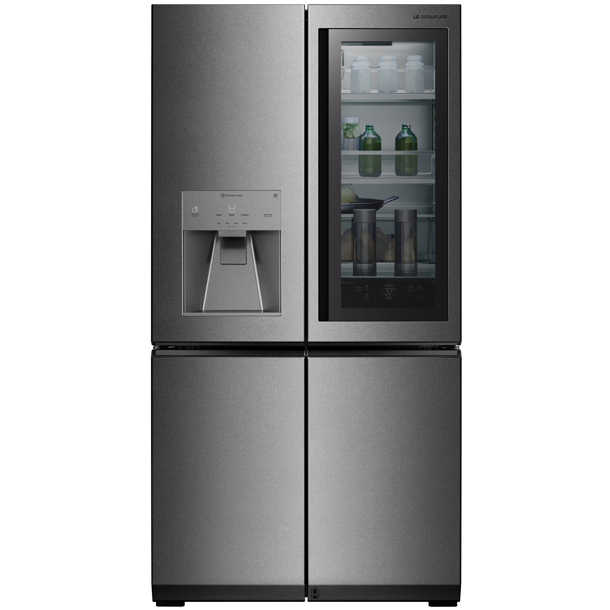 Image of LG SIGNATURE LUPXS3186N 30.8 cu. ft. Smart Wi-Fi Enabled InstaView Door-in-Door Refrigerator – Textured Steel , Stainless steel