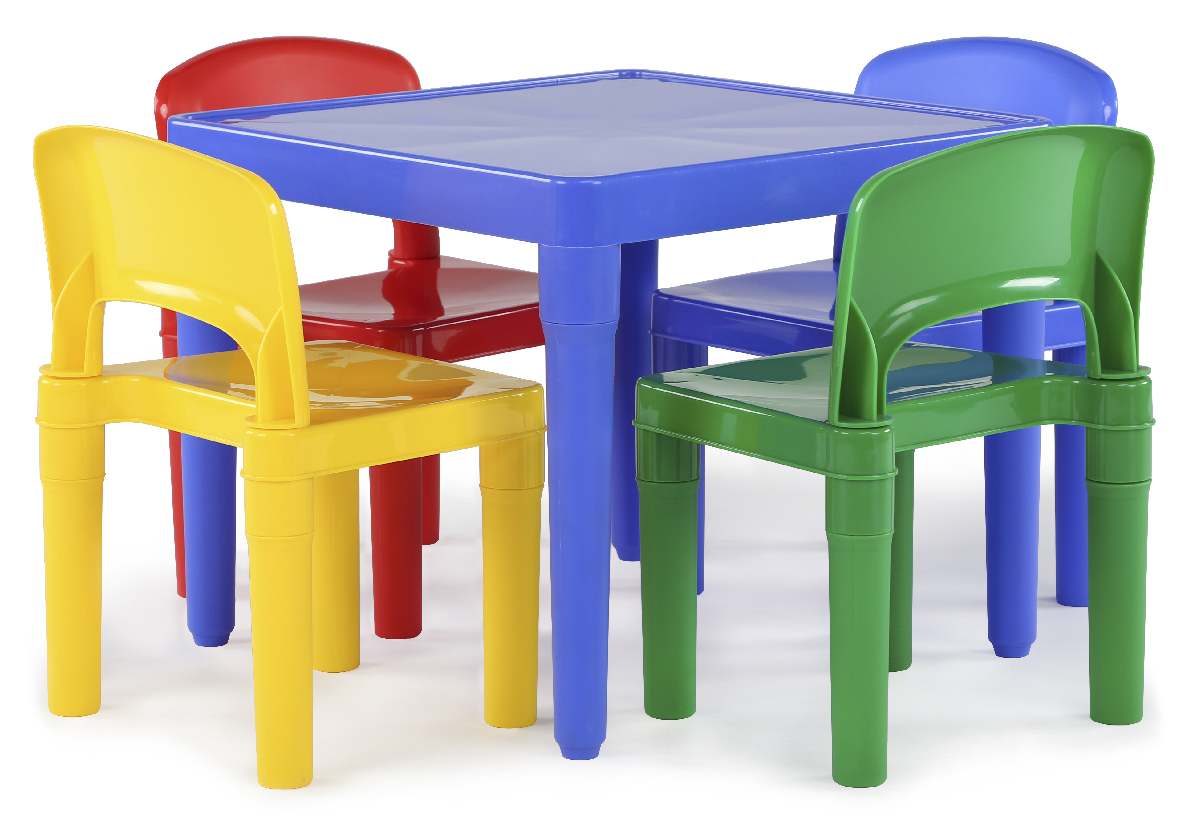 Kids Plastic Table and 4 Chairs Set, Primary Colors