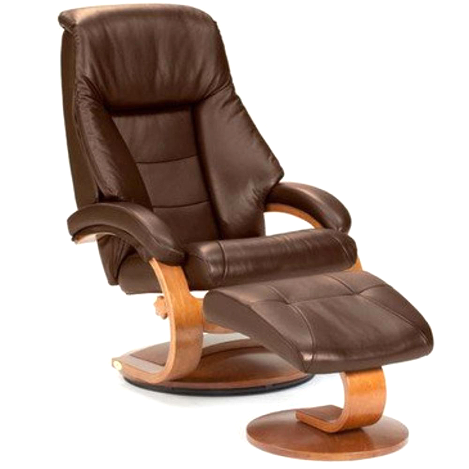 Mac Motion Chairs Oslo Collection Mac Motion Leather Recliner With Matching  Ottoman, Expresso And Walnut