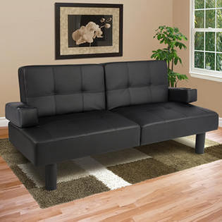 Best Choice Products Bestchoiceproducts Faux Leather Fold Down Futon Lounge Convertible Sofa Bed Black