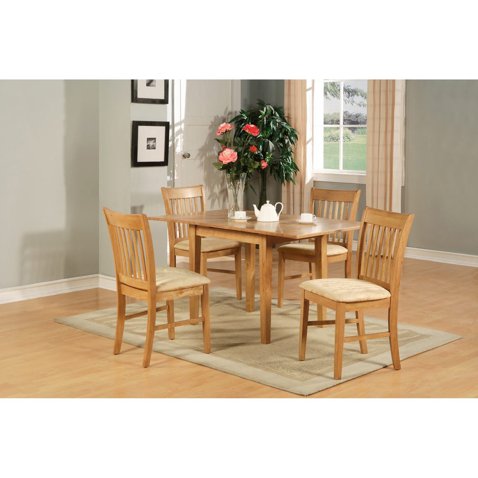 East West Furniture Norfolk 3pc Rectangular Table With 2 Cushioned Seat Chairs Mahogany