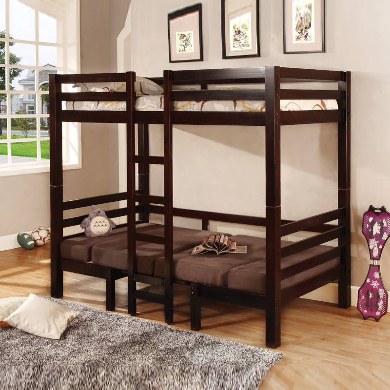 Coaster Cappuccino Twin Twin Convertible Loft Bunk Bed With Padded