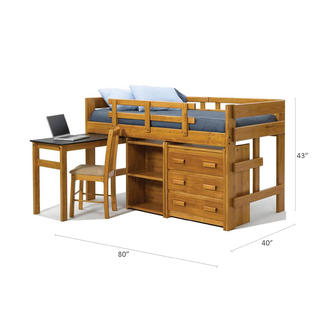 Chelsea Home Twin Mini Loft Bed With Pull Out Desk Honey Alternate