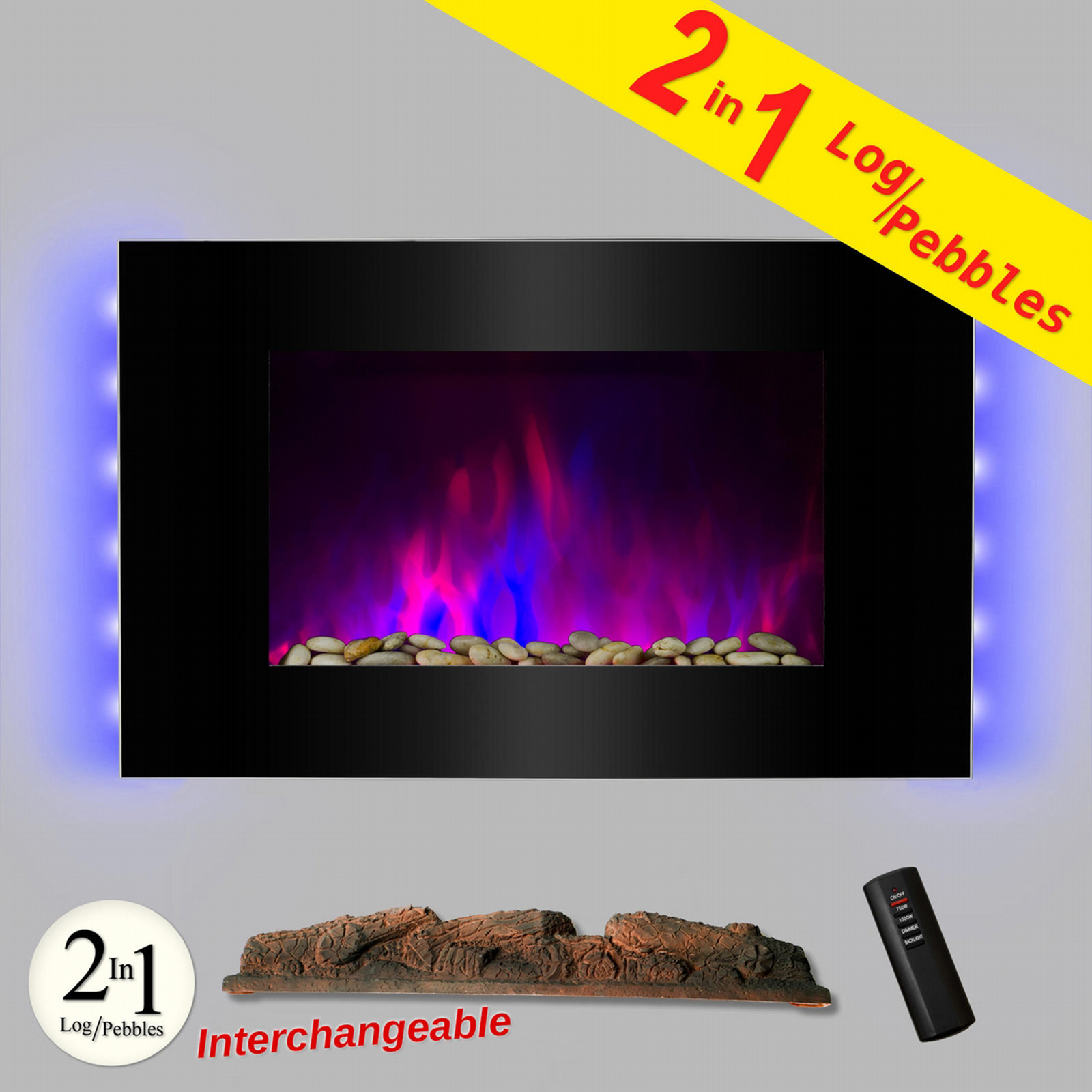 "AKDY 36"" Electric Fireplace Tempered Glass Electric Fireplace Heat Wall Mount Remote Temperature Control Backlit Plug FP0047AK PartNumber: SPM10173958225"